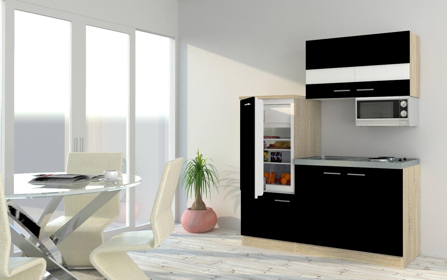 respekta Küchenzeile Küche Singleküche Einbau Küchenblock 160 cm Eiche schwarz