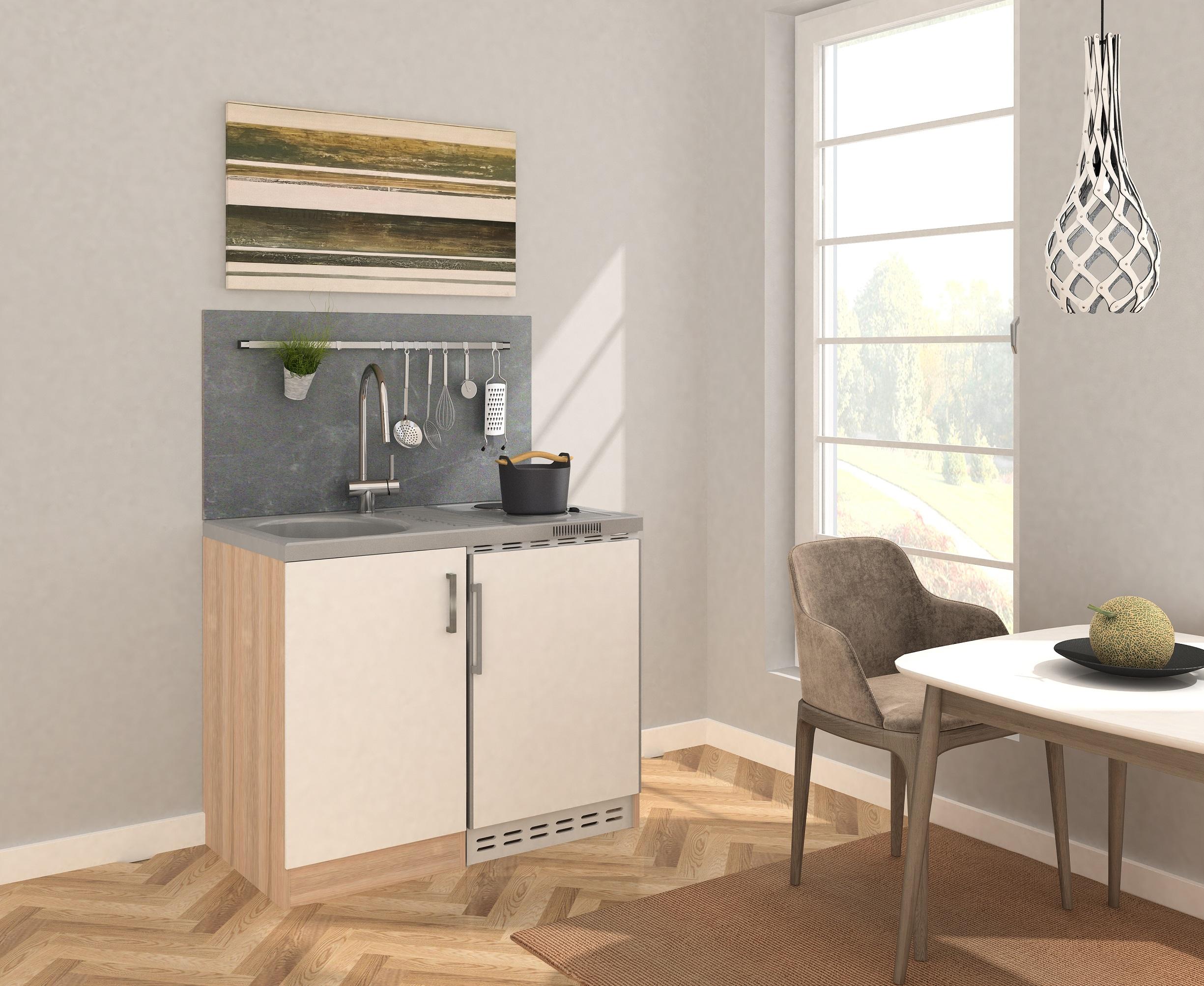 respekta Miniküche Küche Küchenzeile Küchenblock 100 cm Eiche Sägerau weiß