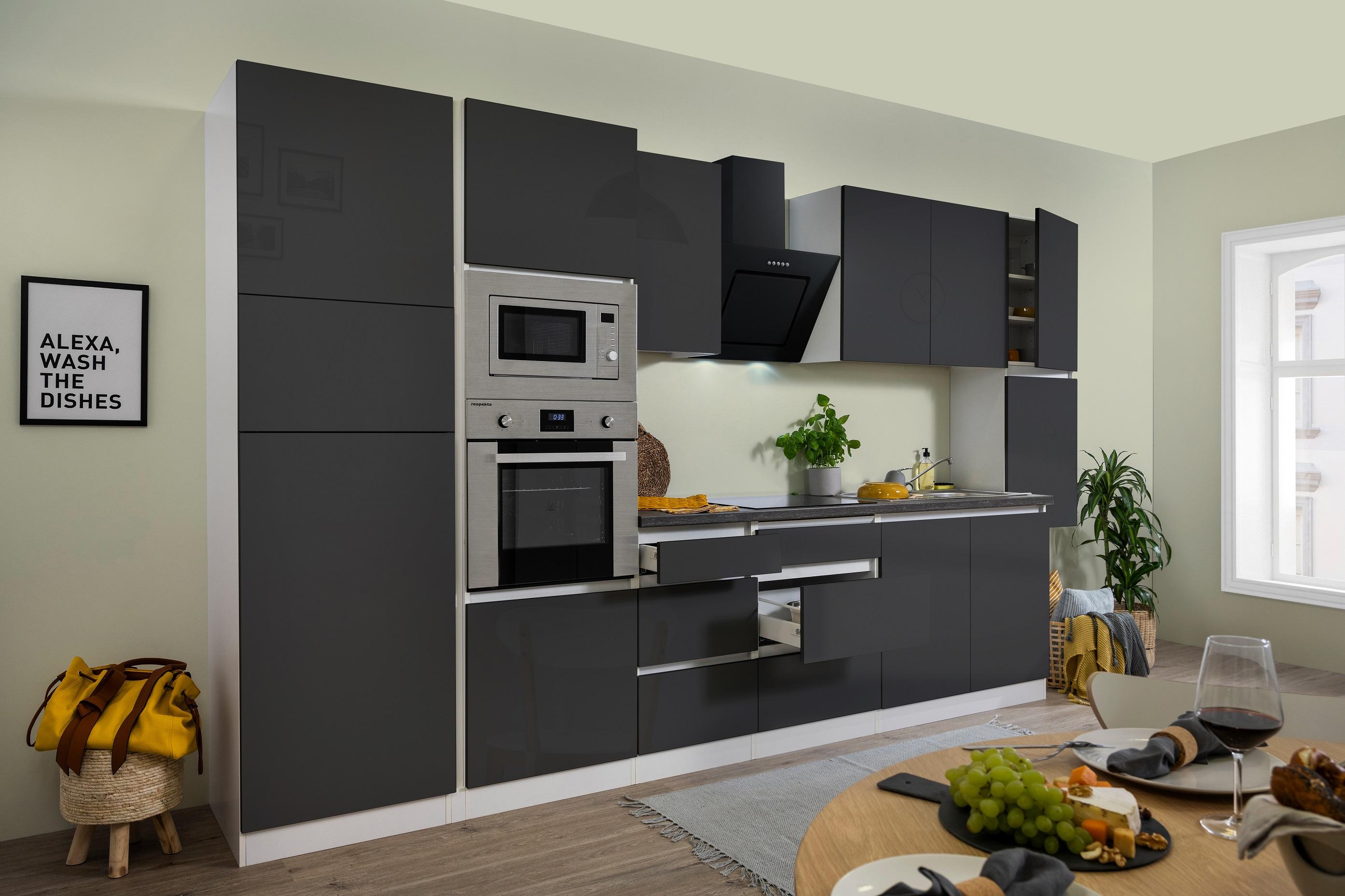 respekta Küche Küchenzeile Küchenblock grifflose Einbauküche 385 cm weiß grau