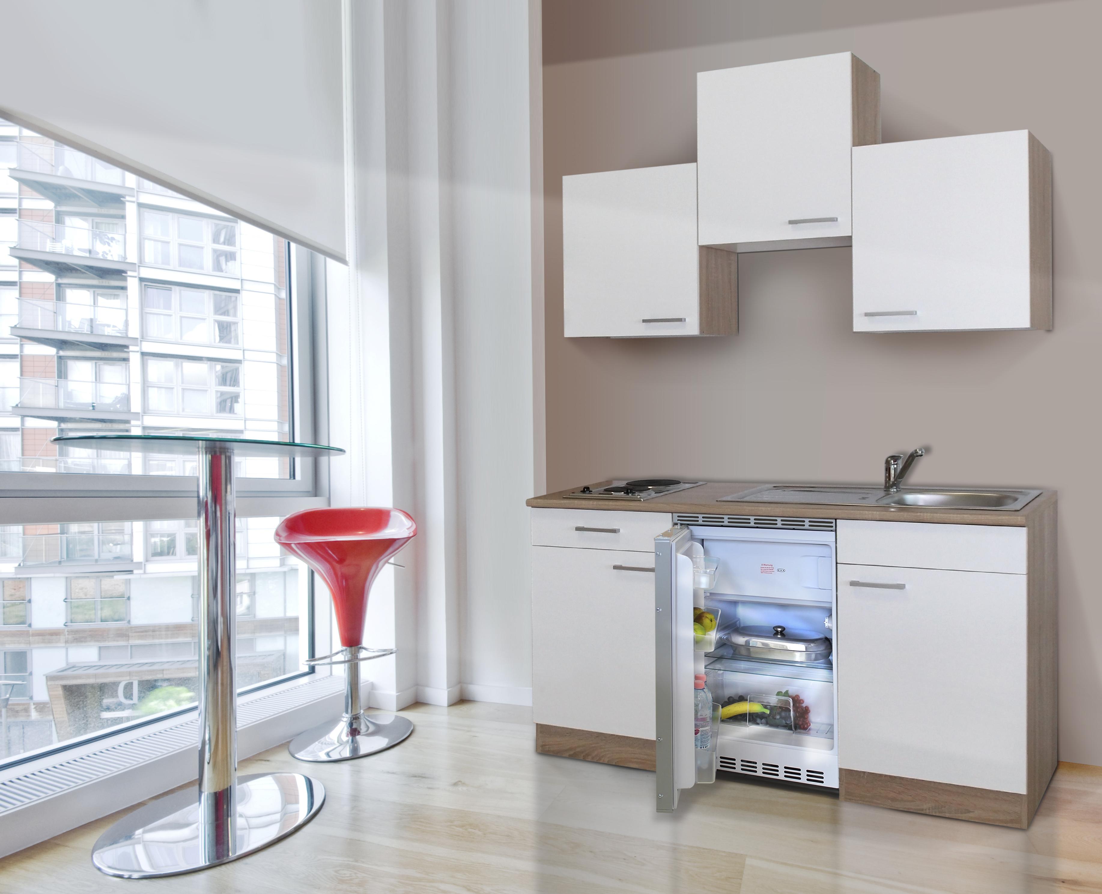 respekta Küche Singleküche Küchenzeile Küchenblock 150 cm Eiche Sägerau weiß