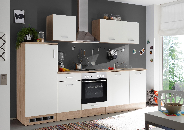 respekta Einbau Küche Küchenzeile Küchenblock 280 cm Eiche Natura Nachb. weiss