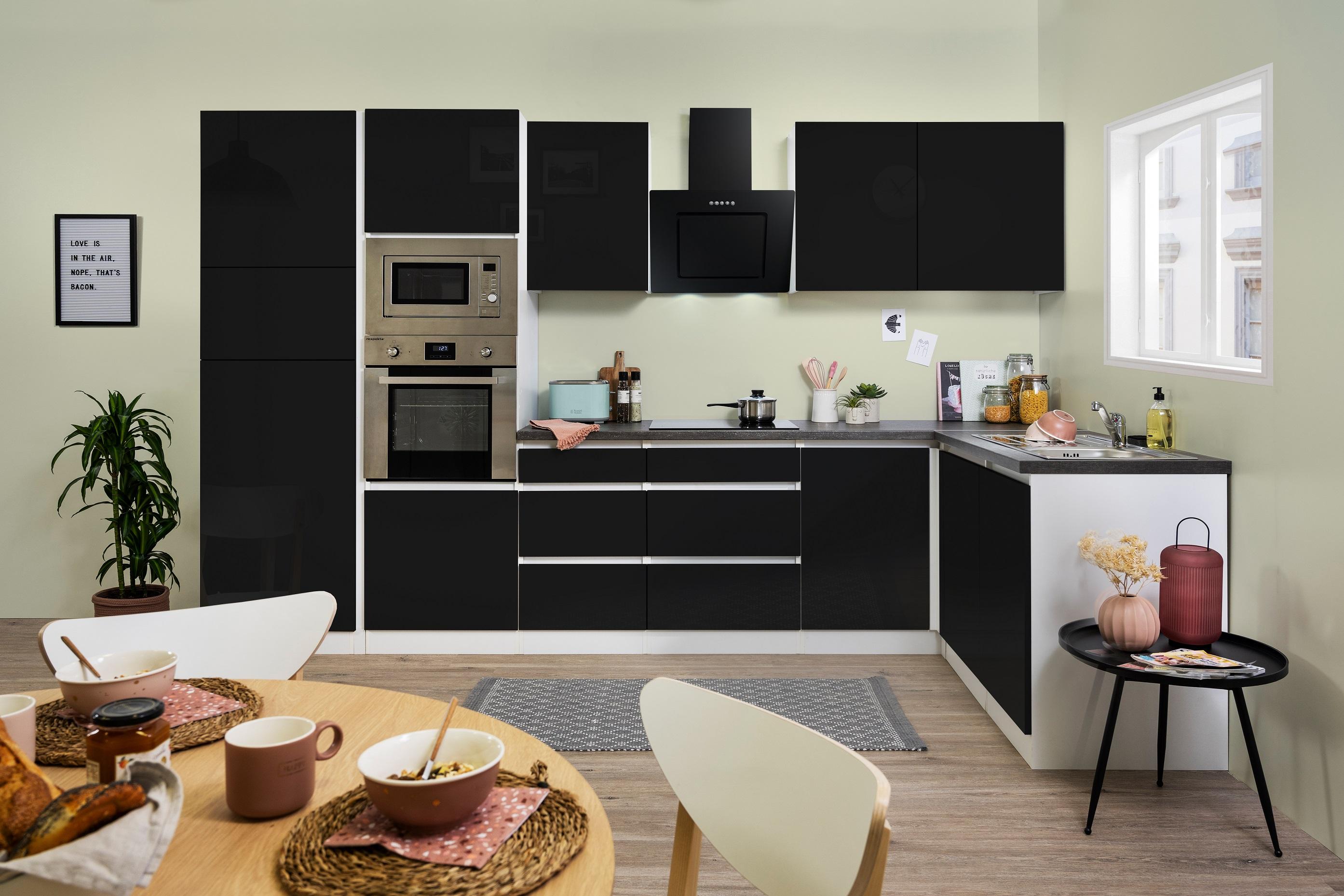 Winkelküche Küchenzeile Küche L-Form Küche grifflos schwarz 345x172 cm respekta