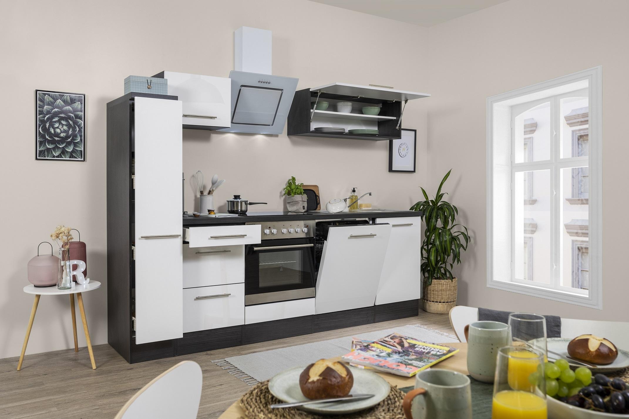 respekta Küchenzeile Küche Einbauküche Küchenblock Hochglanz 250 cm Eiche weiß