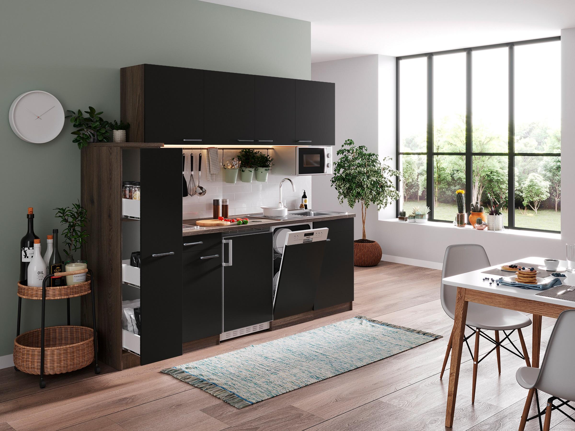respekta Küche Küchenblock Küchenzeile Singleküche 225 cm Eiche York schwarz