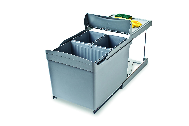 Abfallsammler Mülleimer 3 fach Mülltrennsystem Abfalleimer 45 cm Schrankbreite