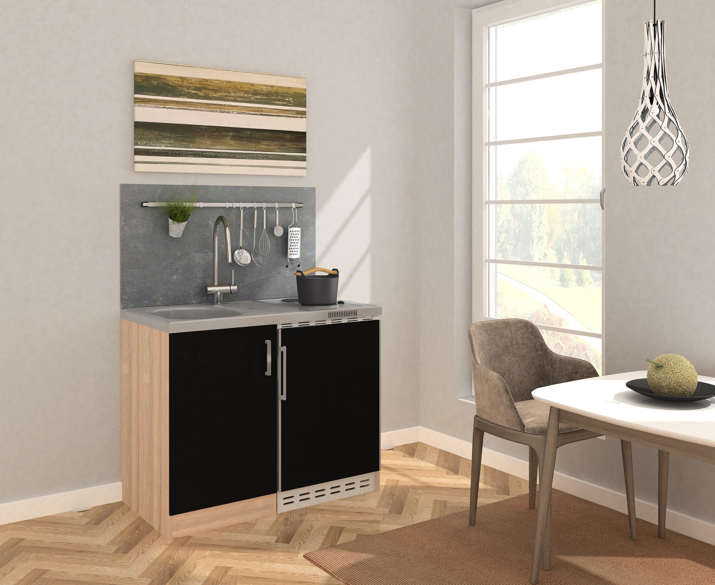 respekta Miniküche Küche Küchenzeile Küchenblock 100 cm Eiche Sägerau schwarz
