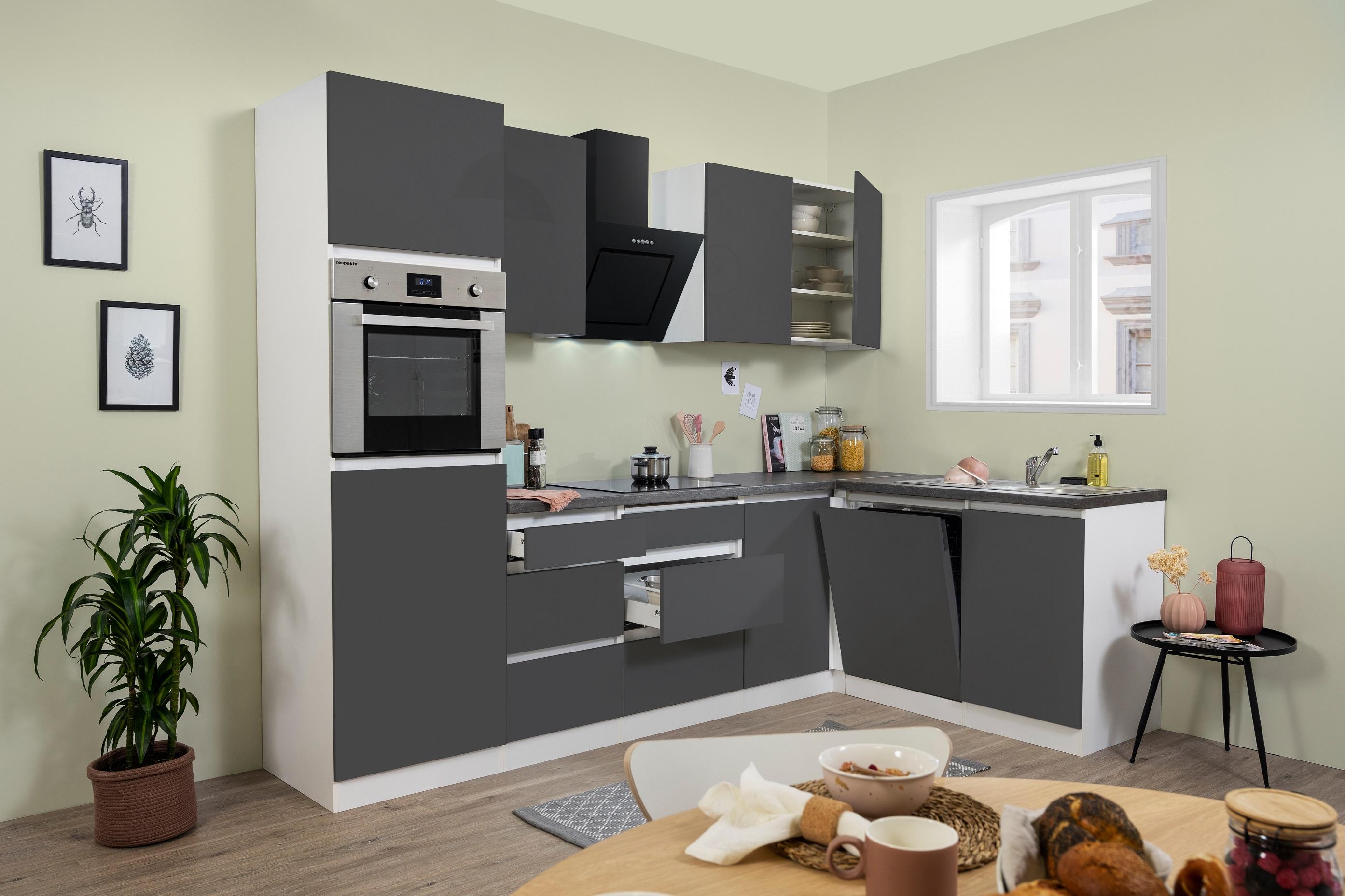 Winkelküche Küchenzeile Küche L-Form Küche grifflos grau 280x172 cm respekta