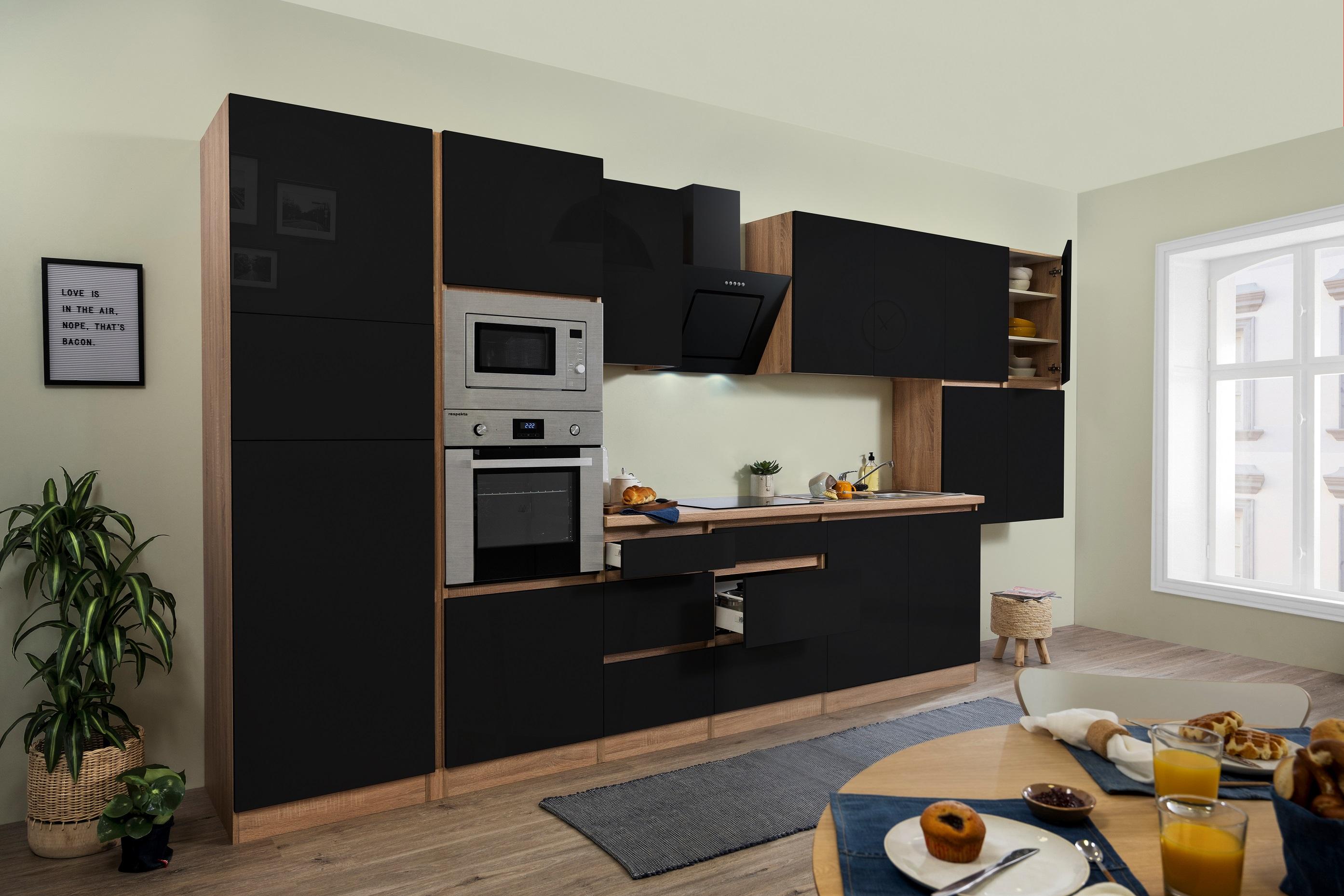 respekta Küche grifflose Küchenzeile Küchenblock 435 cm Eiche Sonoma schwarz