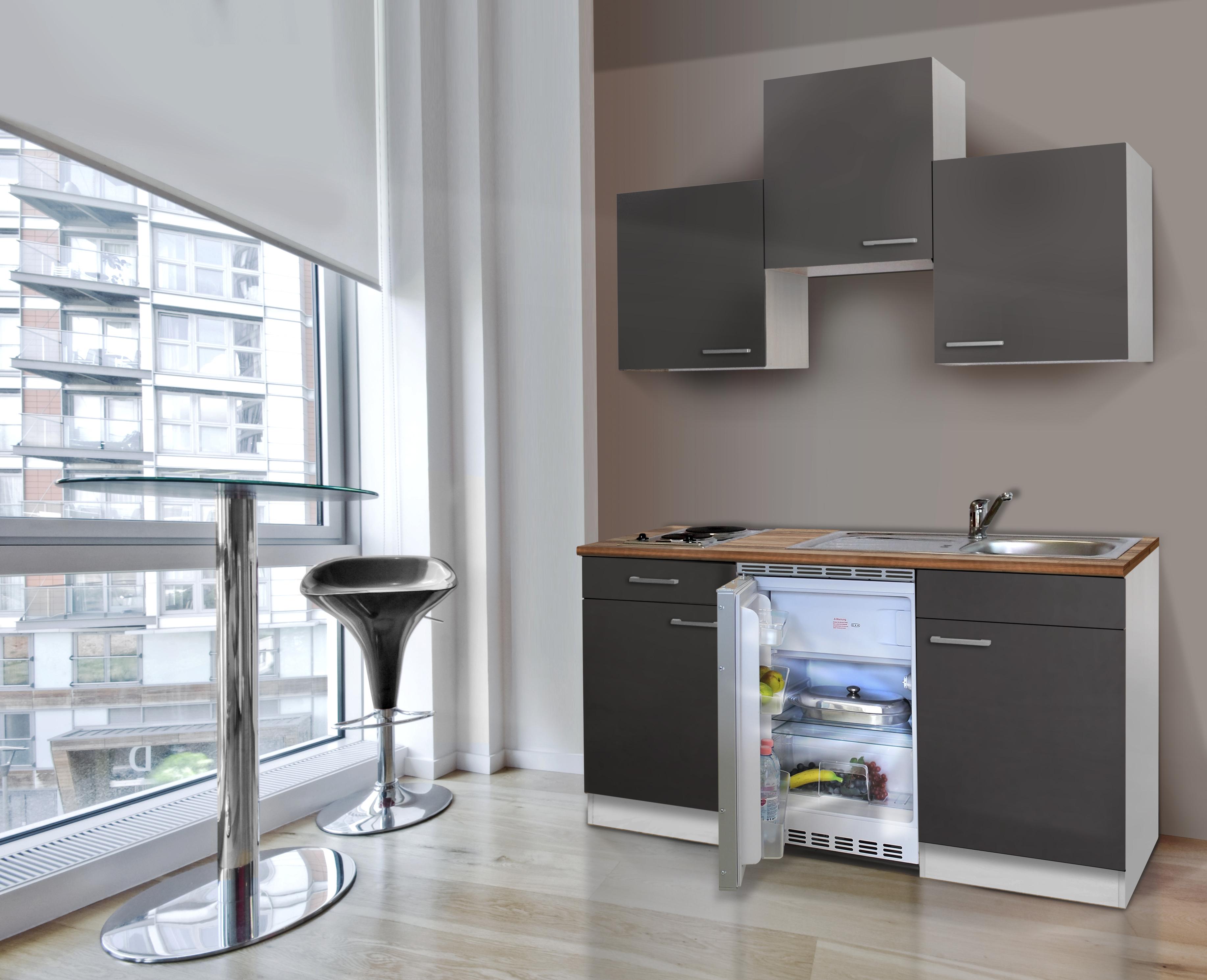 respekta Küche Miniküche Singleküche Küchenzeile Küchenblock 150 cm weiß grau