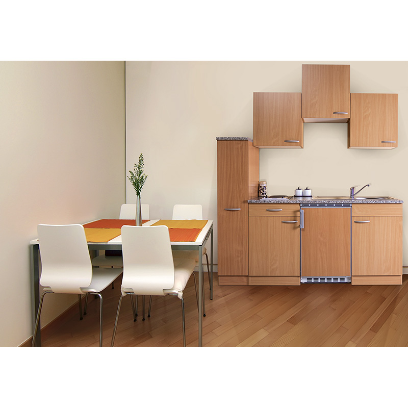 respekta Küche Miniküche Singleküche Küchenzeile Einbau Küchenblock 180 cm Buche