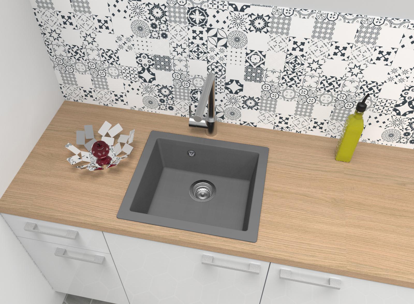 Spüle Küchenspüle Einbauspüle Spülbecken Granit Mineralite 50 x 44 grau respekta