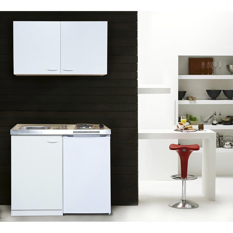 respekta Küche Miniküche Küchenzeile Küchenblock Single Pantryküche 100 cm weiß