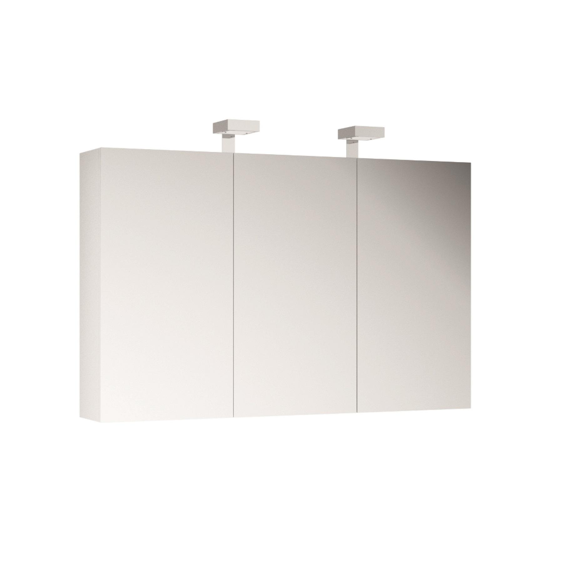 ALLIBERT Spiegelschrank Spiegel Badmöbel vormontiert weiß Glanz 120 cm LED
