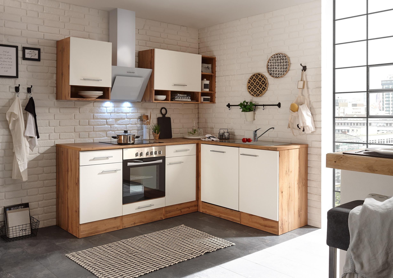 Winkelküche Küchenzeile L-Form Küche Einbauküche Eiche weiß 220x172 cm respekta