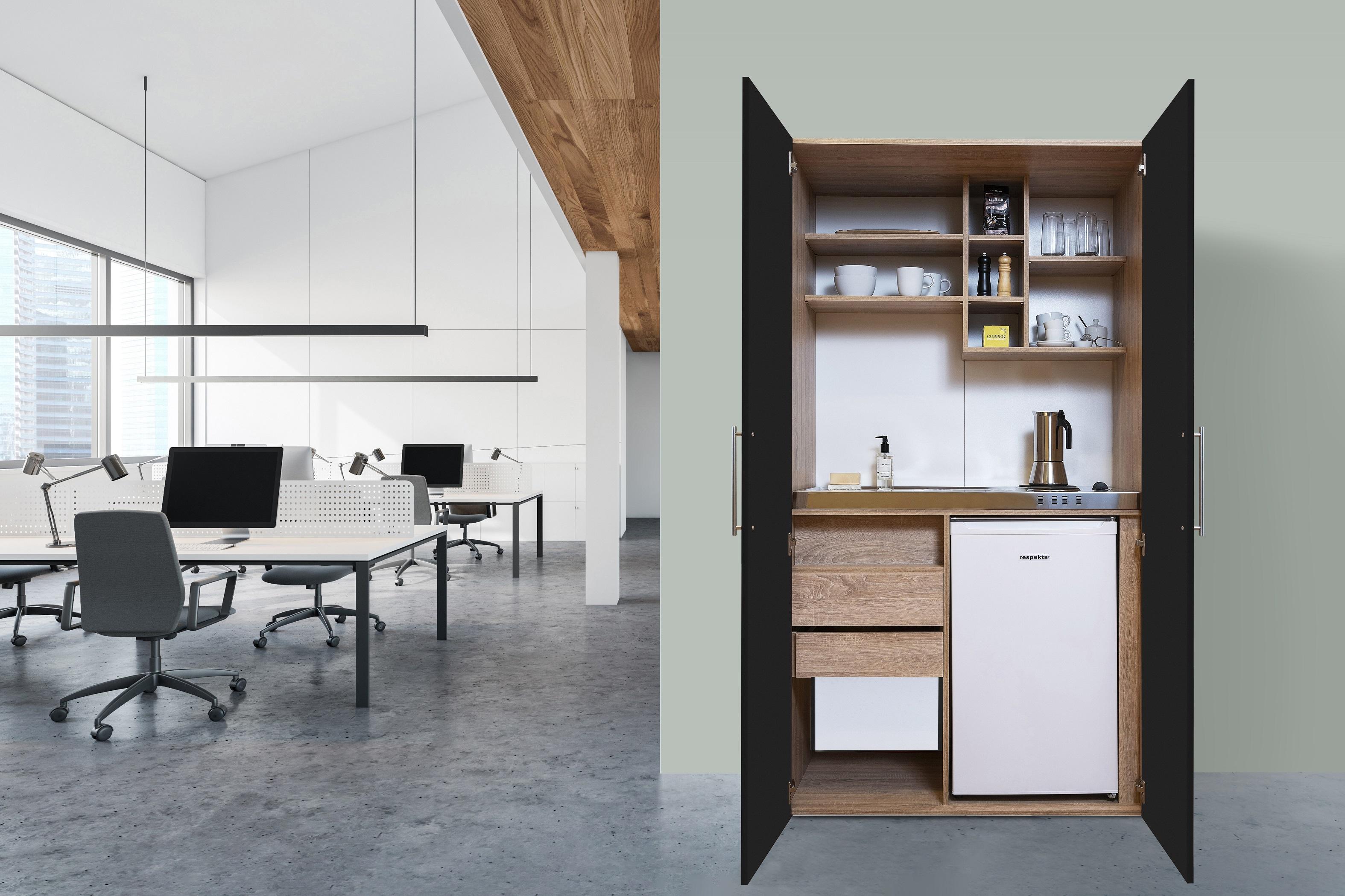 respekta Schrankküche Küche Miniküche Küchenzeile Büro Küchenblock Eiche schwarz