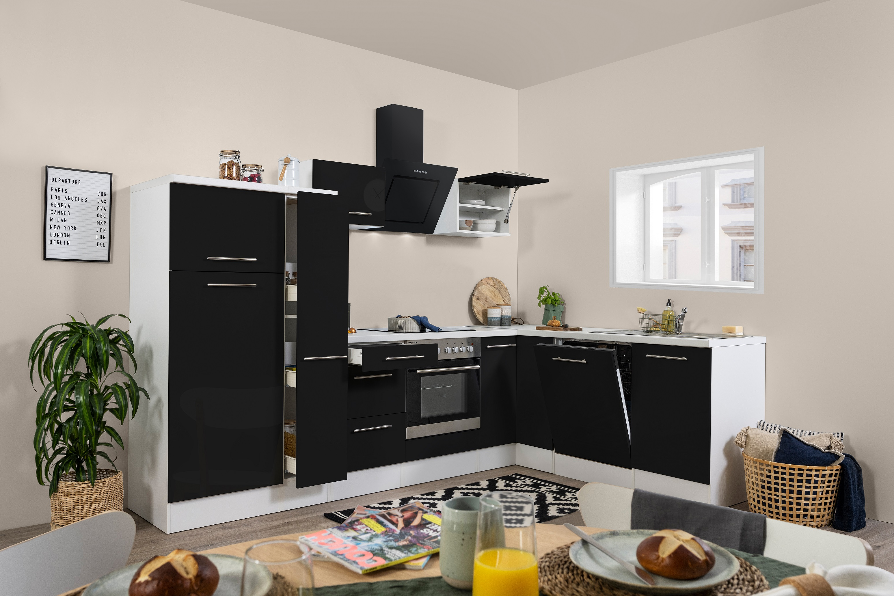 Winkelküche Küchenzeile L-Form Küche Einbauküche weiß schwarz 290x200cm respekta