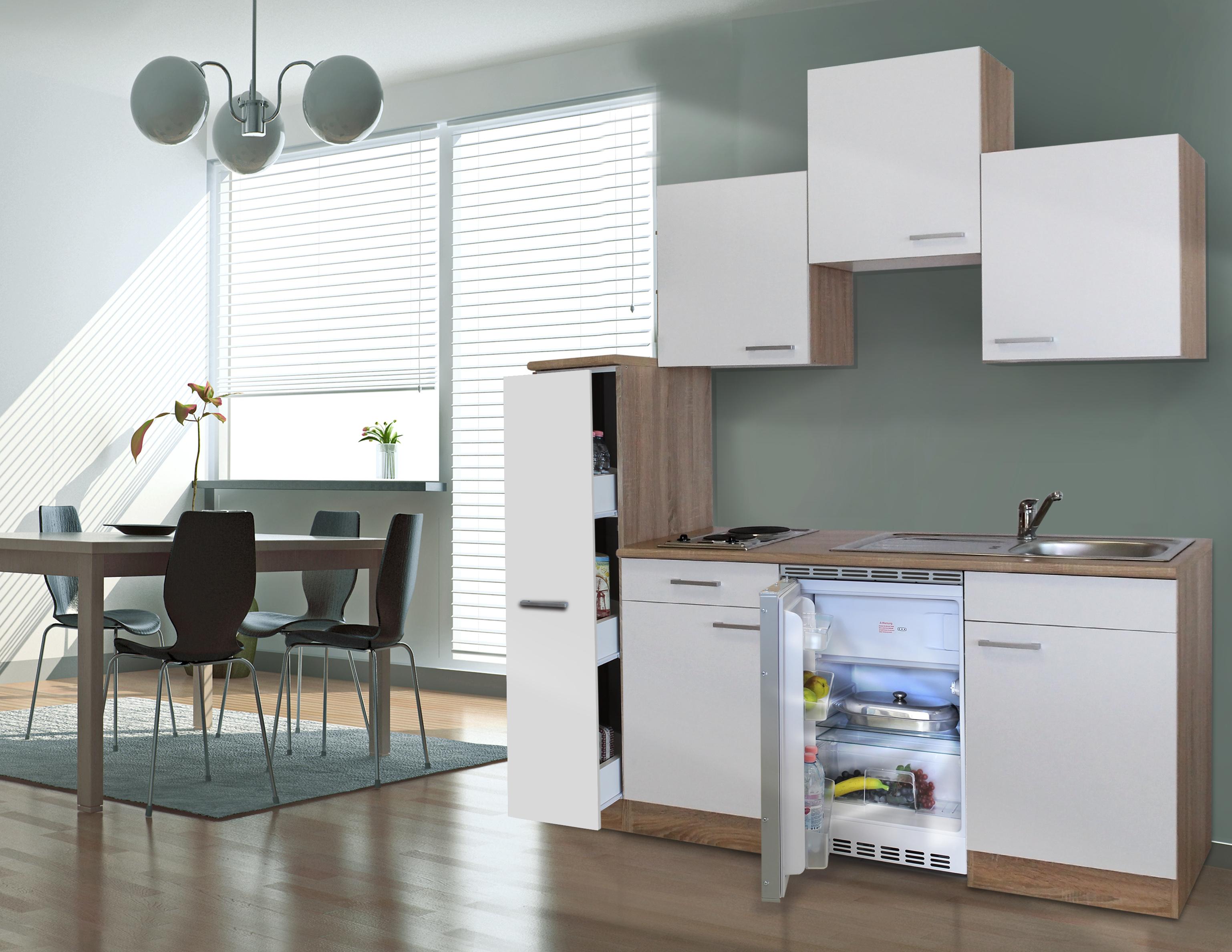 respekta Küche Singleküche Küchenzeile Küchenblock 180 cm Eiche Sägerau weiß