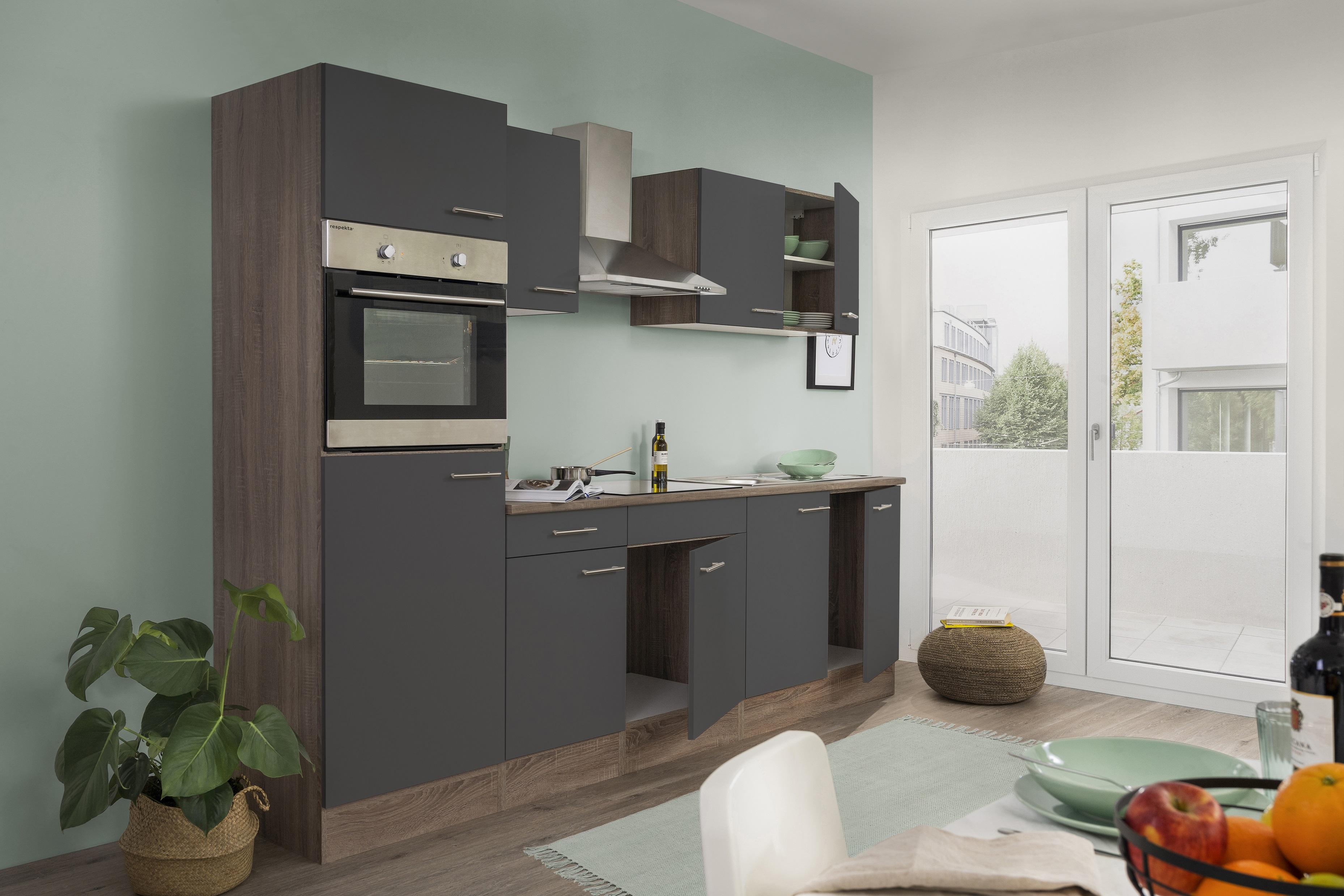 respekta Küchenzeile Küche Einbau Küchenblock Leerblock 270 cm Eiche York grau