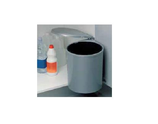 13 Liter Abfallsammler für Schränke (ab 40er) mit Drehtüren silbergrau rund