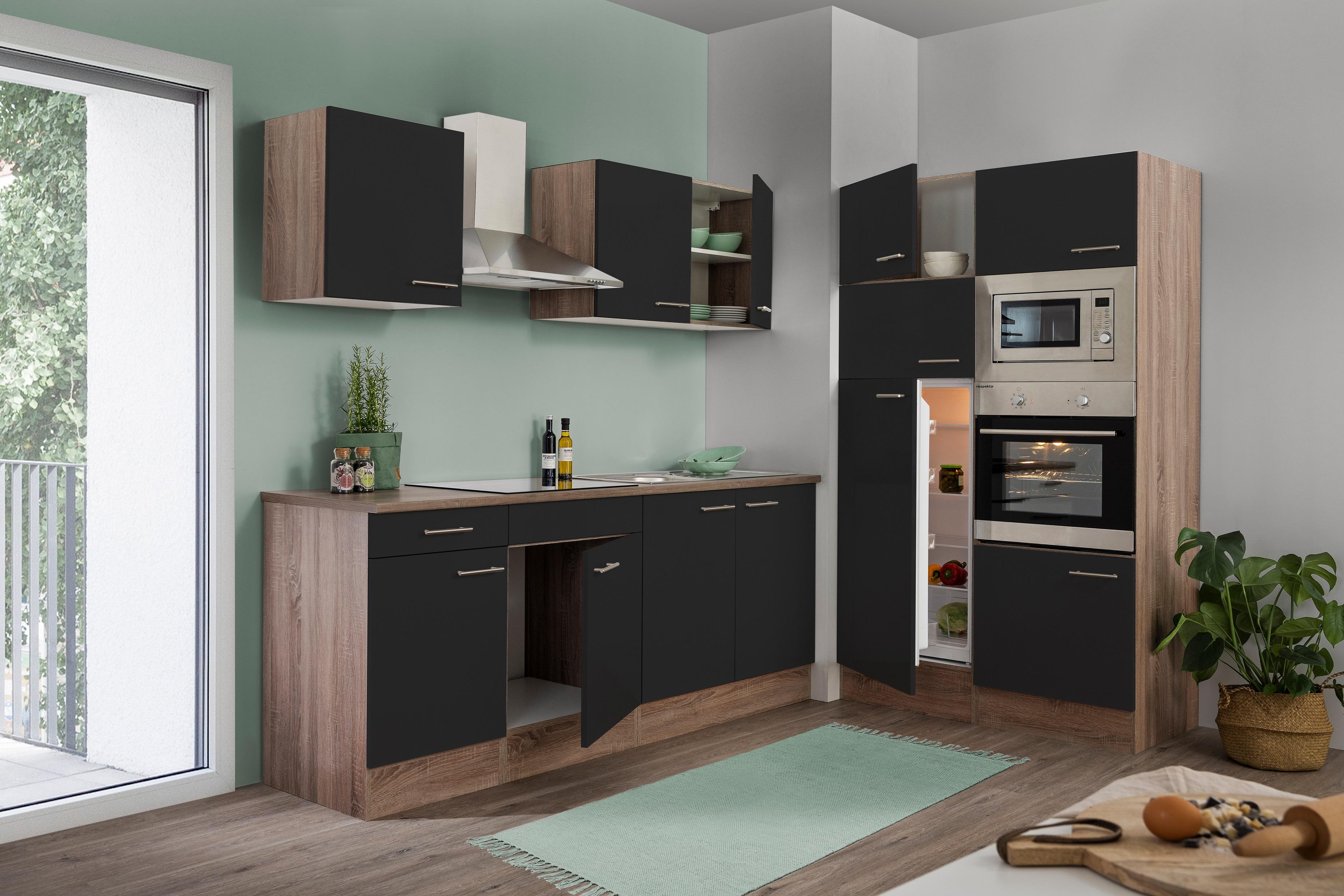 respekta Küche Küchenzeile Küchenblock Leerblock 330 cm Eiche York schwarz Glanz