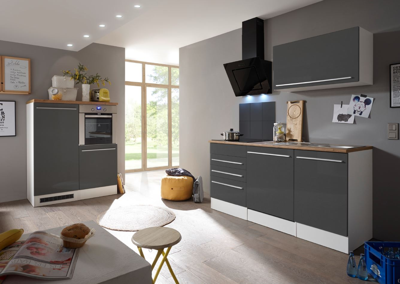 respekta Küche Küchenzeile Küchenblock Einbauküche Komplettküche weiß grau 290cm