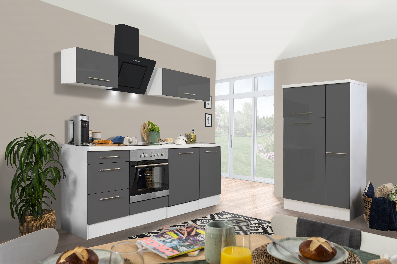 respekta Küchenzeile Küche Küchenblock Einbauküche Hochglanz 310cm weiß grau