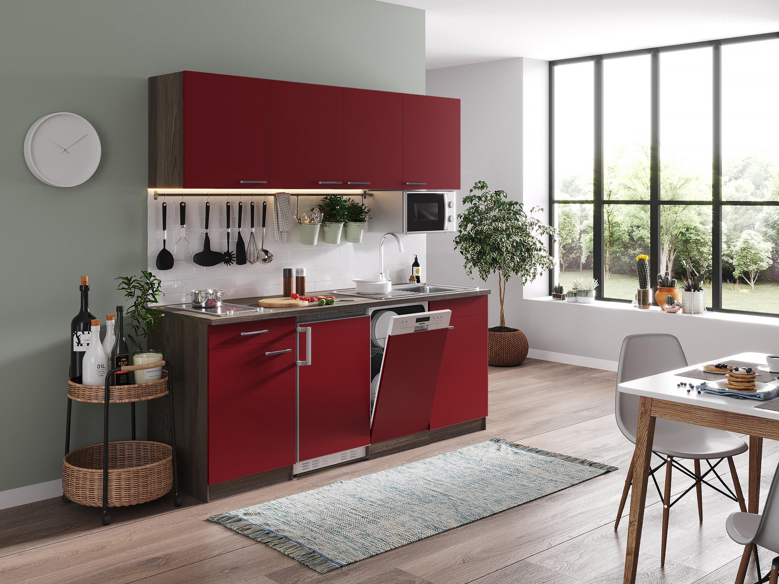 respekta Küche Küchenzeile Küchenblock Einbauküche Single 195 cm Eiche York rot