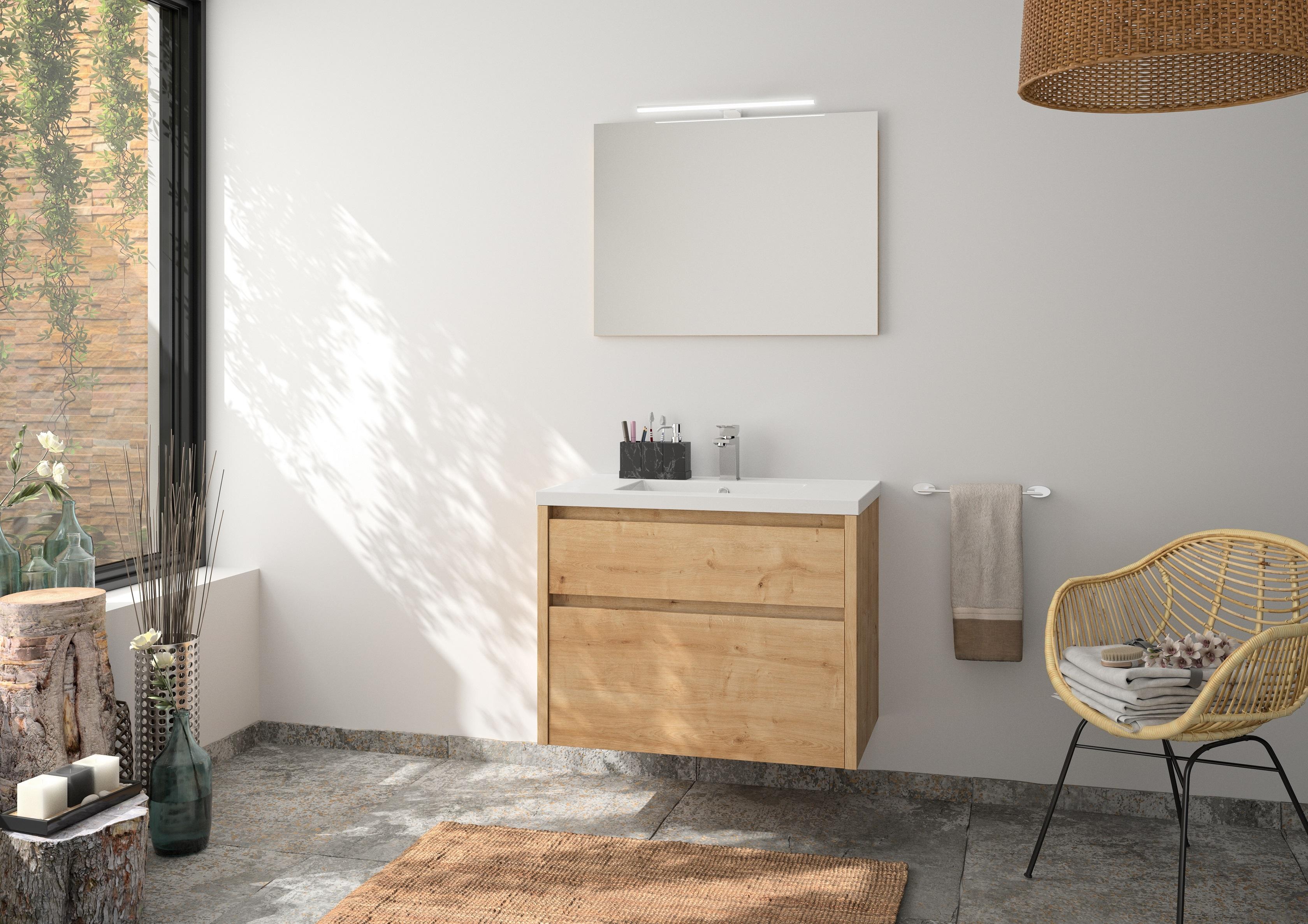 Badmöbel Set Unterschrank 80 cm Waschbecken Spiegel vormontiert Eiche ALLIBERT
