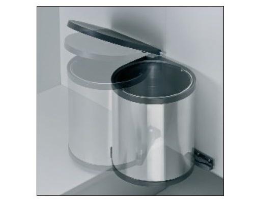 Wesco 13 Liter Rund-Abfallsammler für Schränke (ab 40er) mit Drehtüren Edelstahl