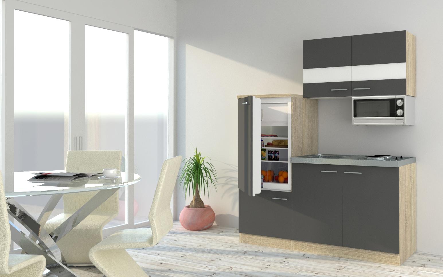 respekta Küchenzeile Küche Singleküche Einbauküche Küchenblock 160 cm Eiche grau