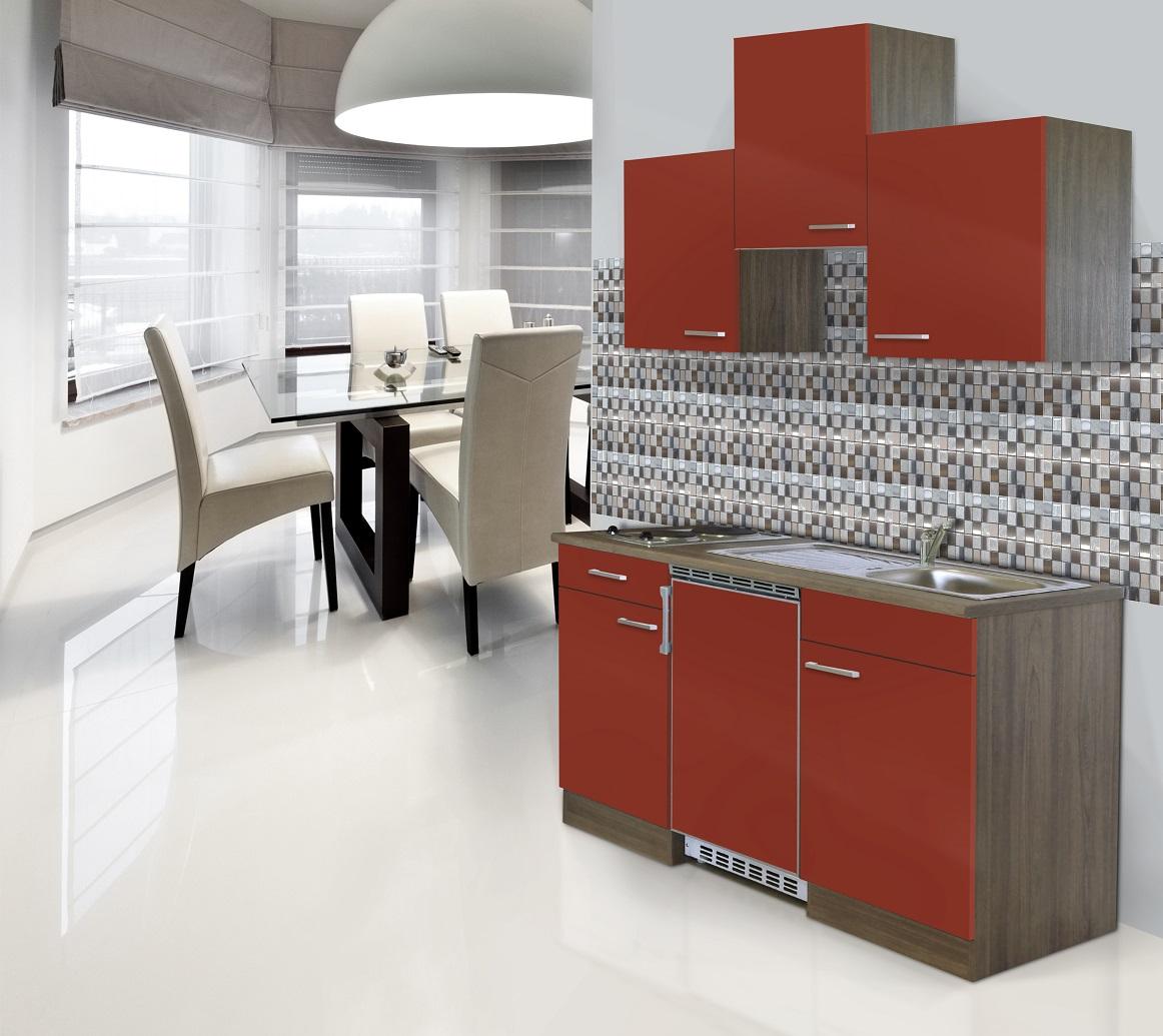 respekta Küche Küchenzeile Küchenblock Single Miniküche 150 cm Eiche York rot