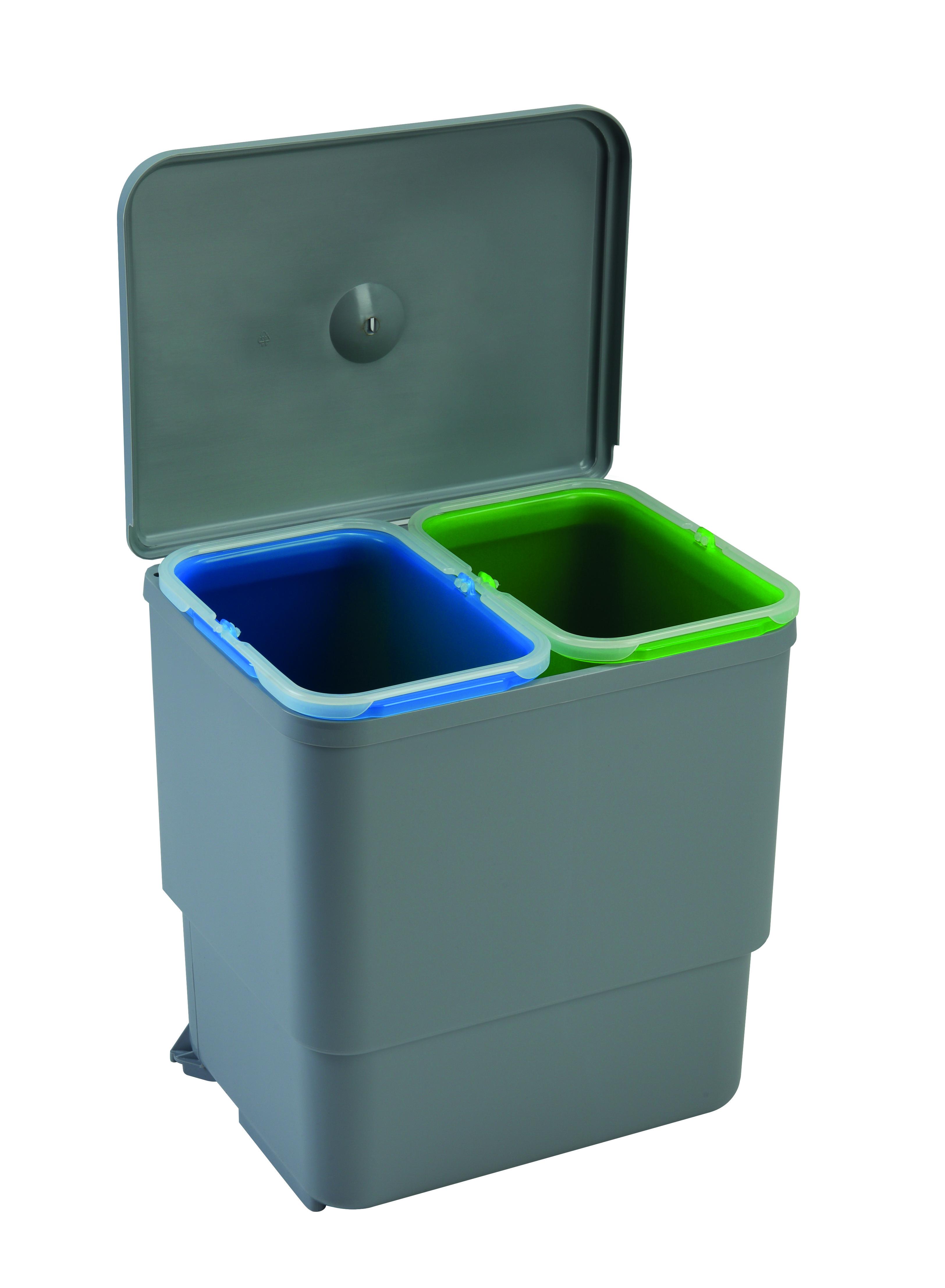 Abfallsammler Mülleimer 2-fach Mülltrennsystem Abfalleimer 45 cm Schrankbreite
