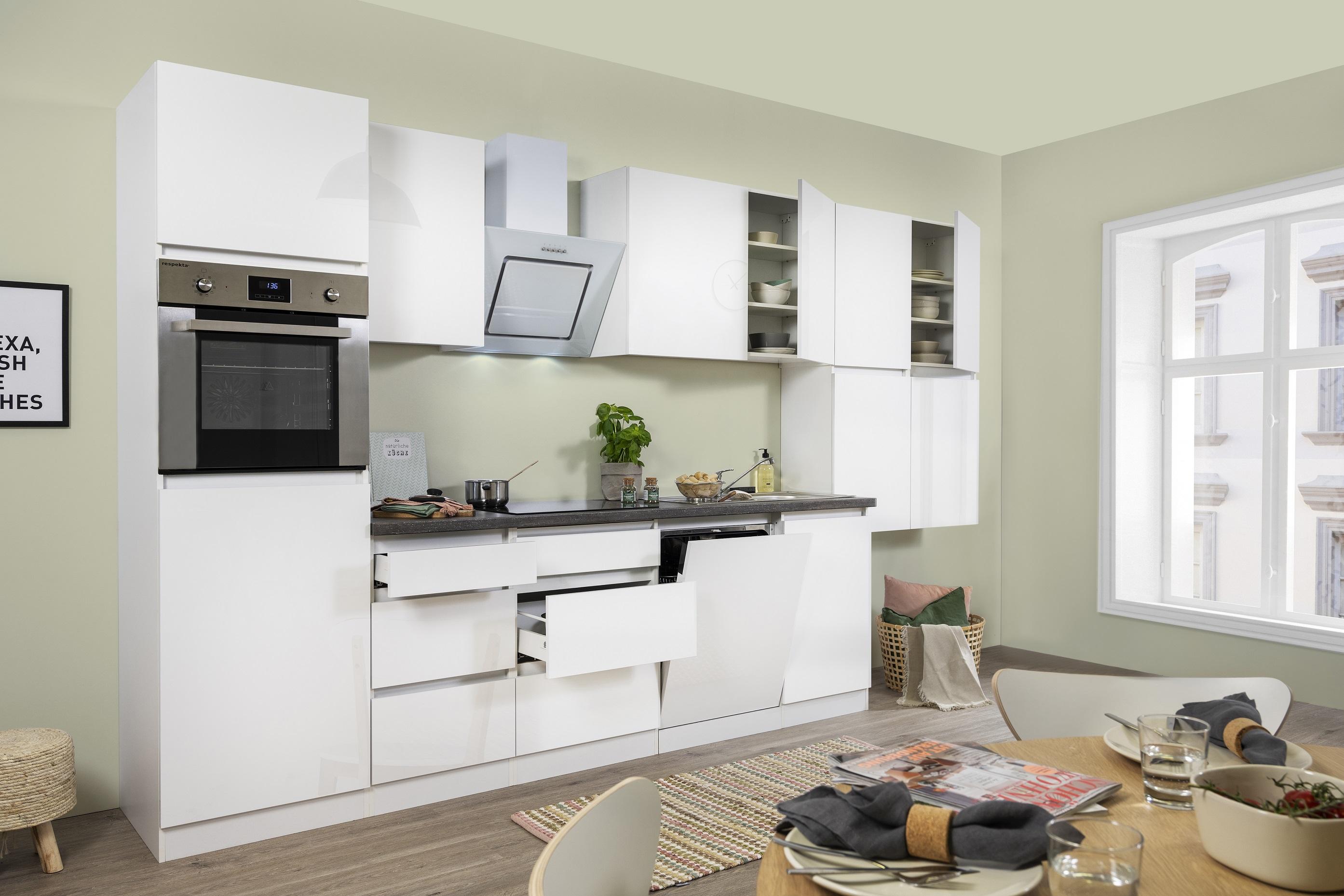 respekta Premium grifflose Küche Leerblock Küchenleerblock 380cm weiß Hochglanz