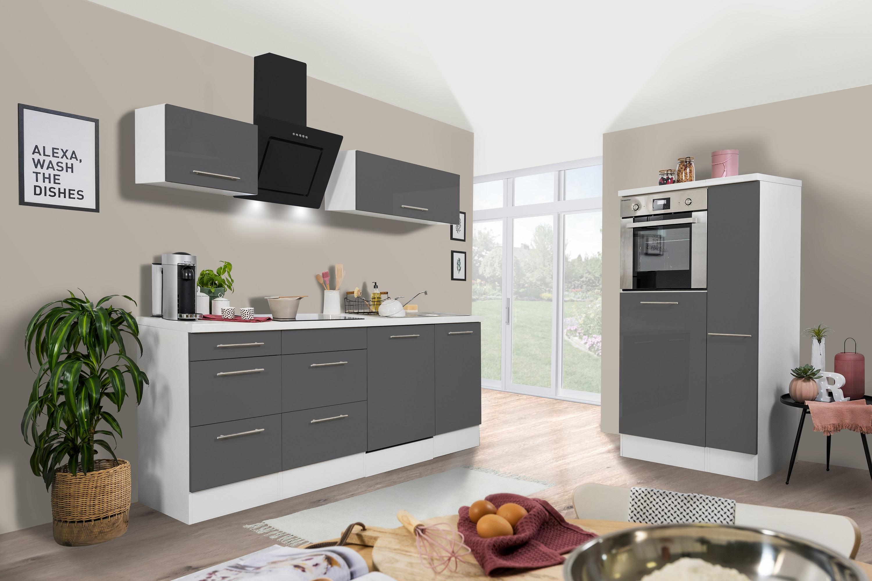 respekta Küchenzeile Küche Küchenblock Einbauküche 280 cm Hochglanz weiß grau