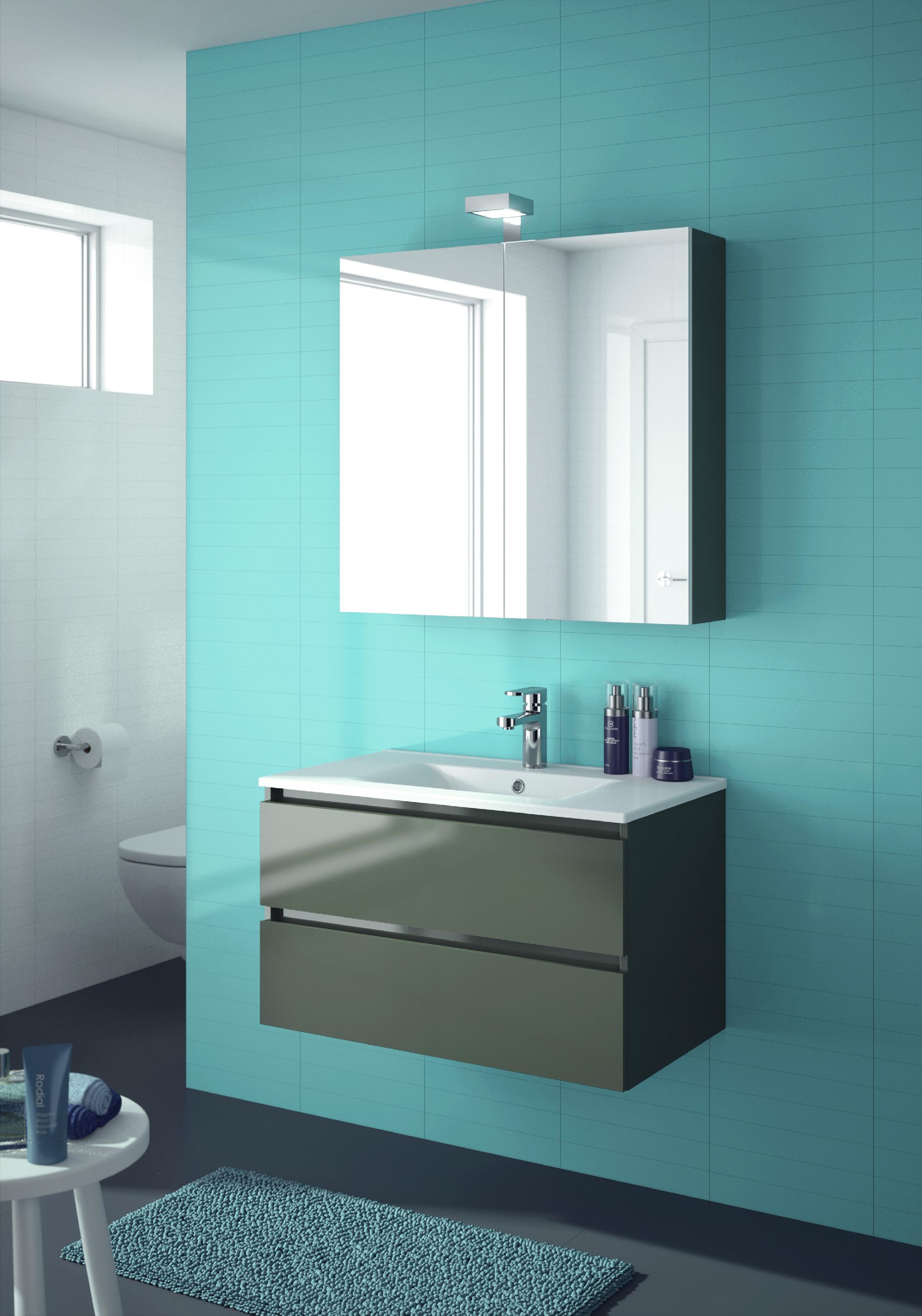 ALLIBERT Badmöbel-Set Badmöbel vormontiert grau Spiegelschrank Waschtisch 80 cm