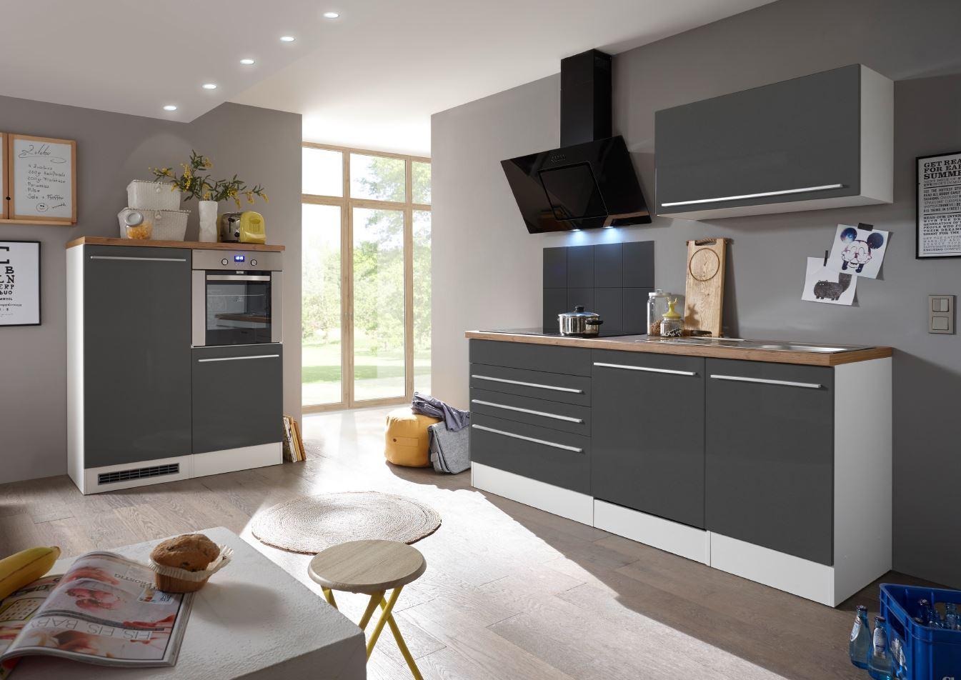 respekta Küche Küchenzeile Küchenblock Einbauküche Komplettküche weiß grau 320cm