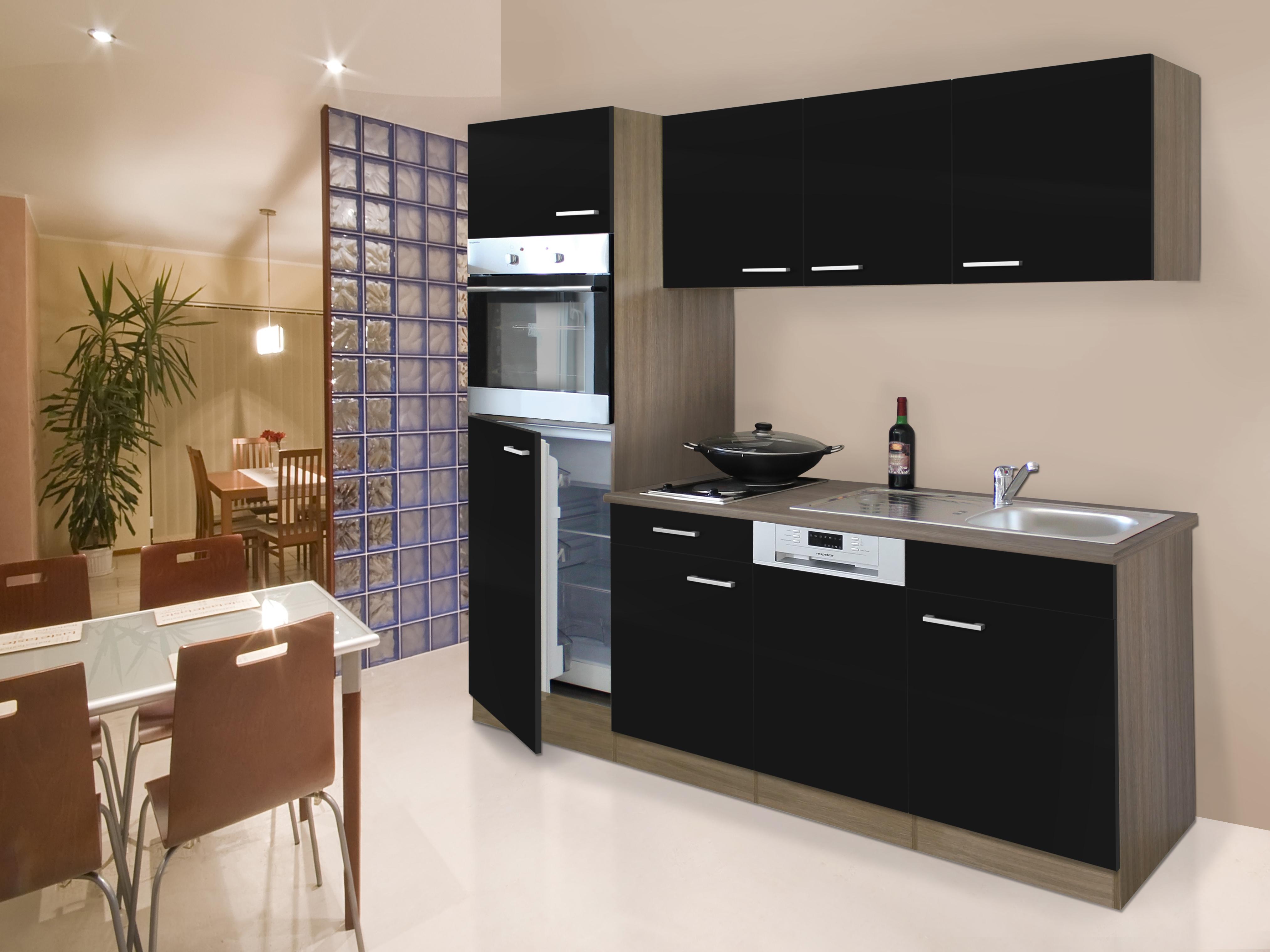 respekta Küche Küchenblock Küchenzeile Singleküche 205 cm Eiche York schwarz