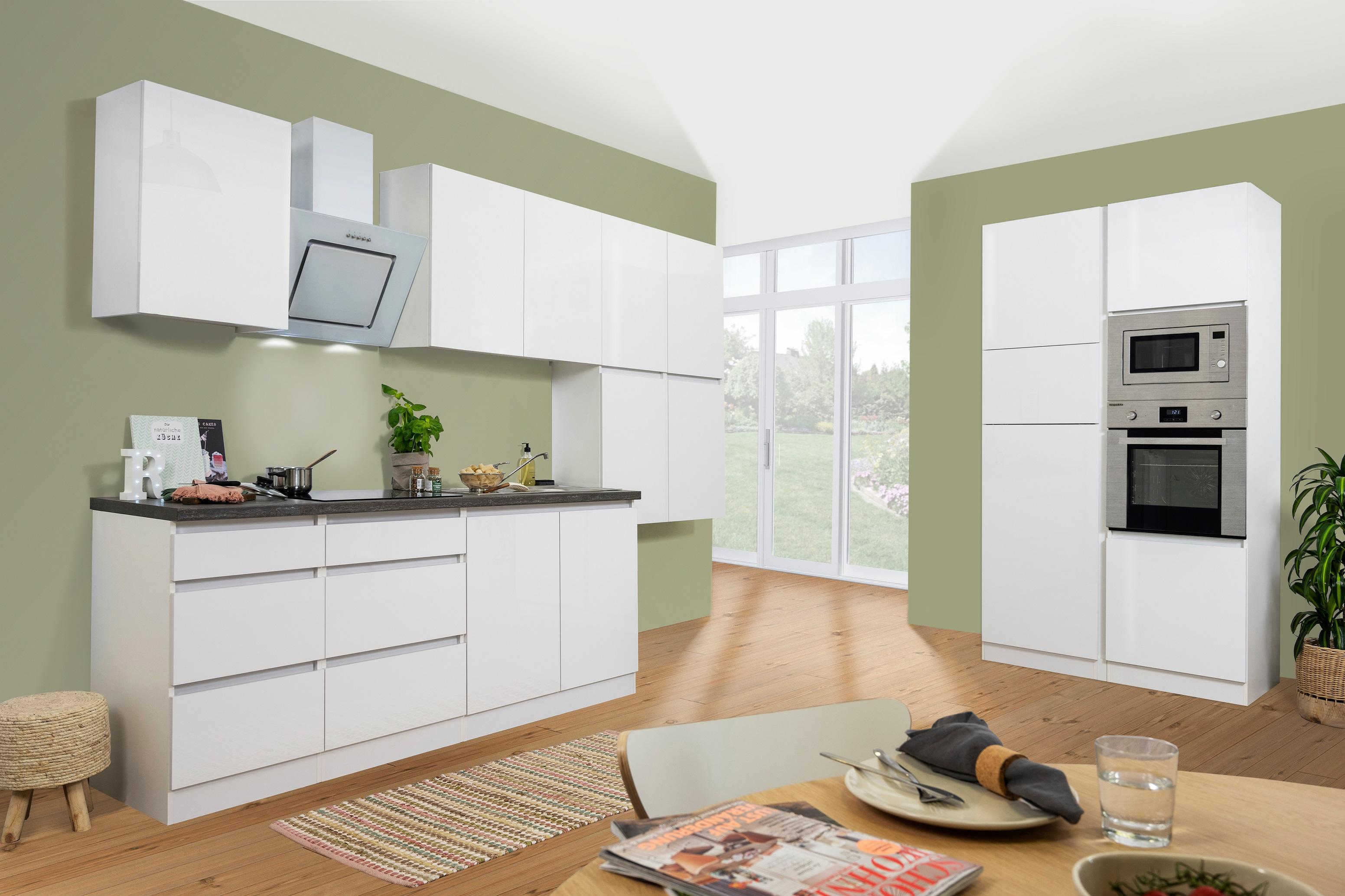 respekta Küche Küchenzeile Küchenblock grifflose Einbauküche 435 cm weiß Glanz