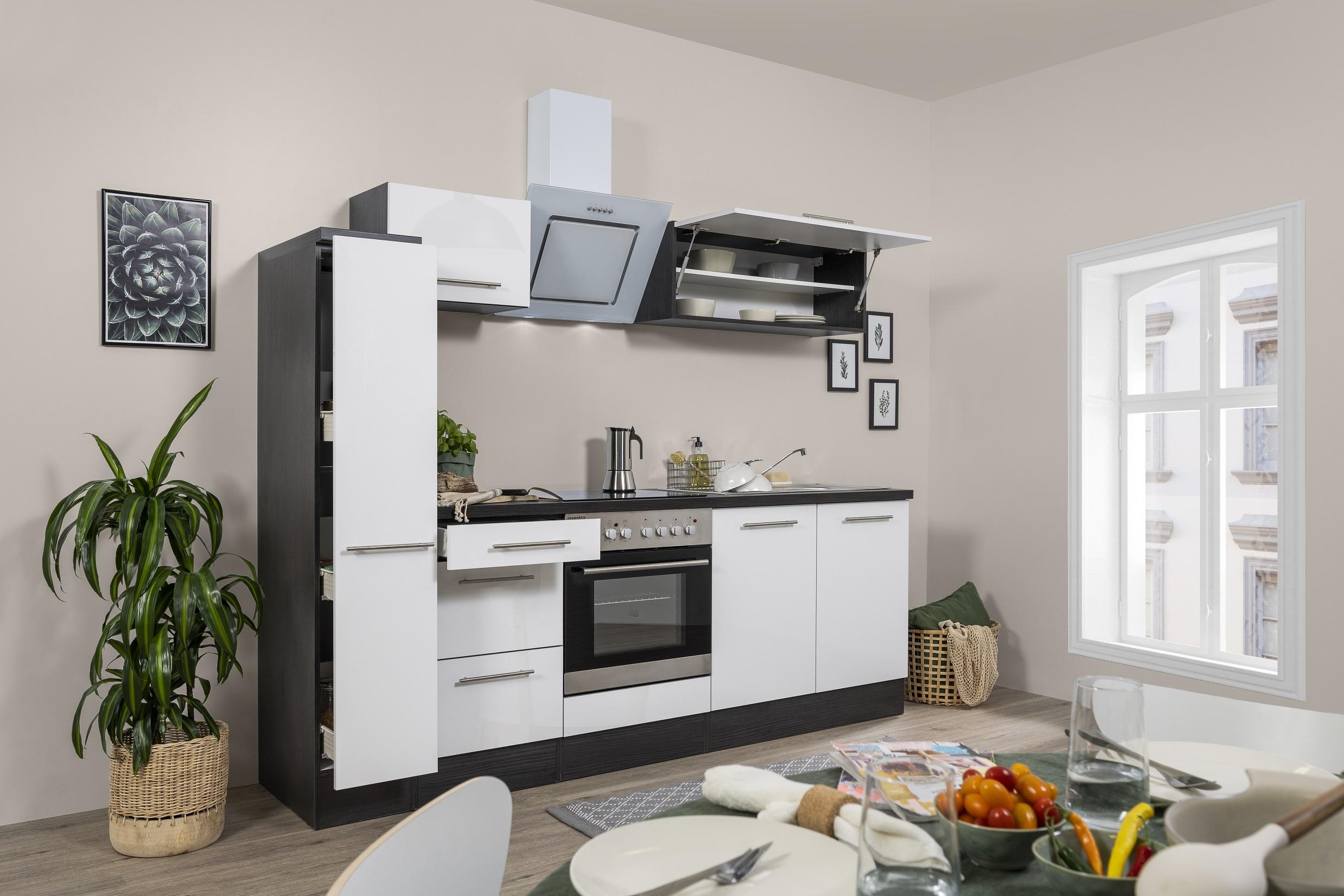 respekta Küchenzeile Küche Küchenblock Einbauküche Hochglanz 240 cm Eiche weiß