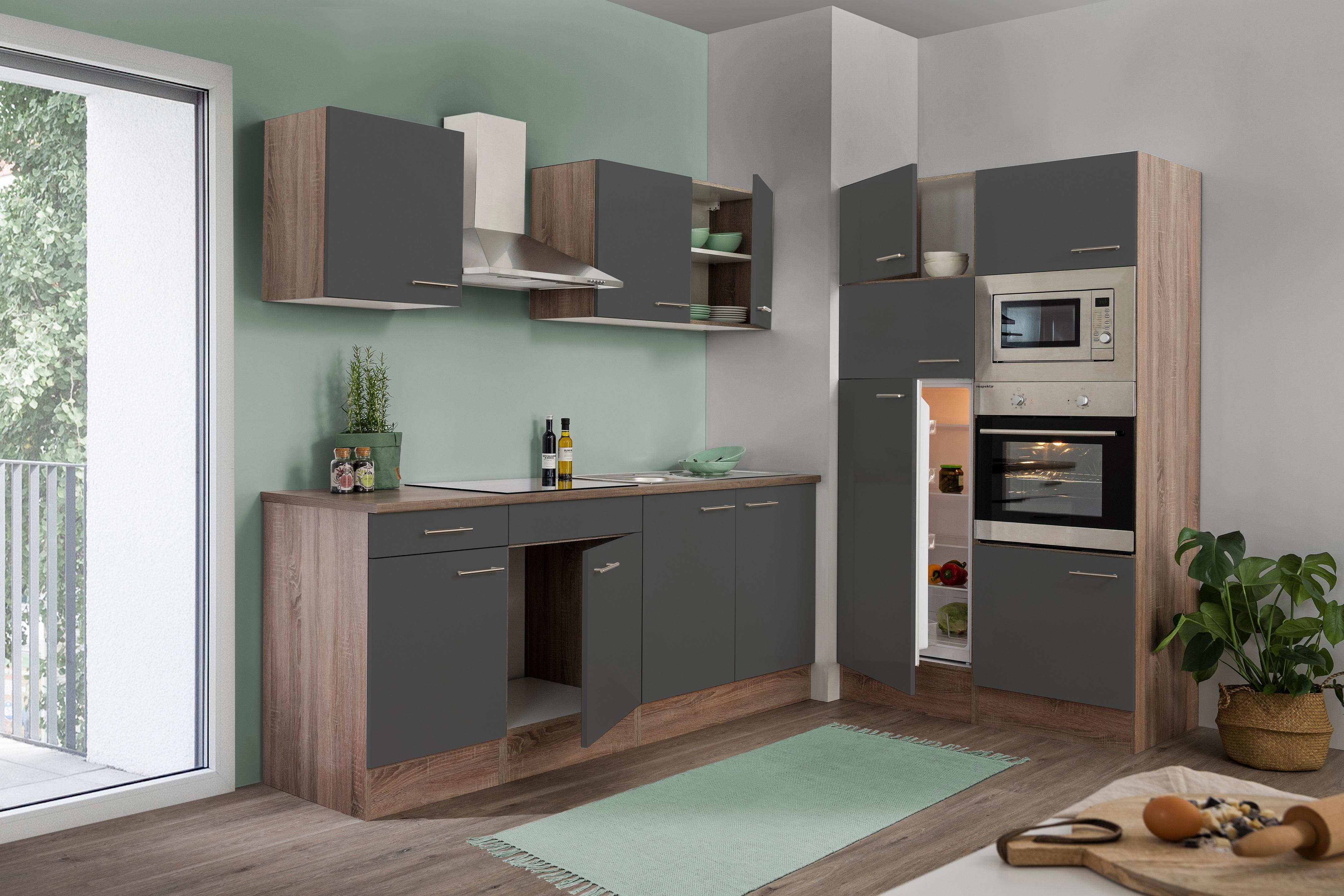 respekta Küche Küchenzeile Küchenblock Leerblock 330 cm Eiche York grau Glanz