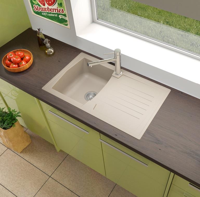 respekta Spüle Küchenspüle Einbauspüle Mineralite Spülbecken 86 x 50 sandbeige