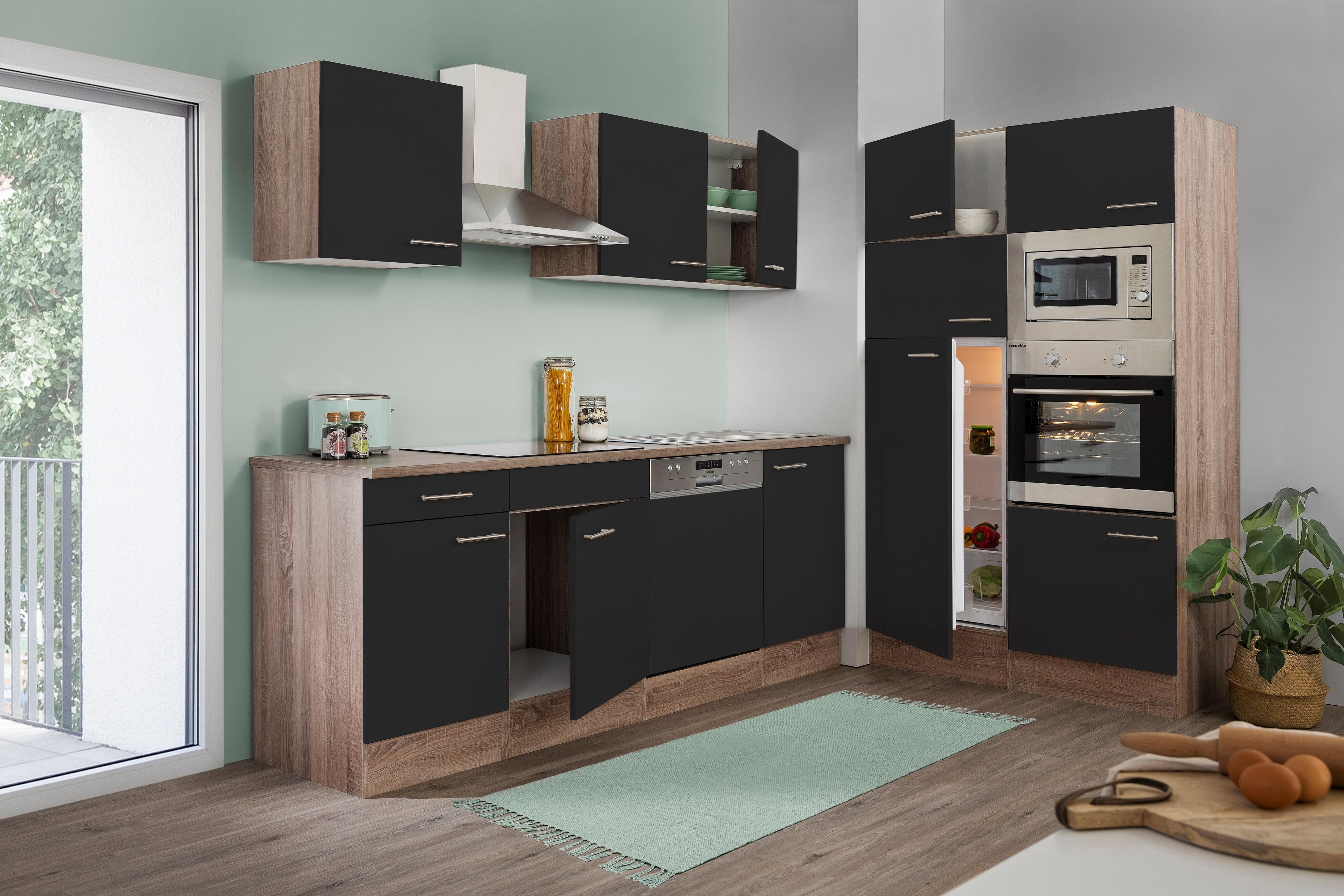 respekta Küche Küchenzeile Küchenblock Leerblock 340 cm Eiche York schwarz Glanz