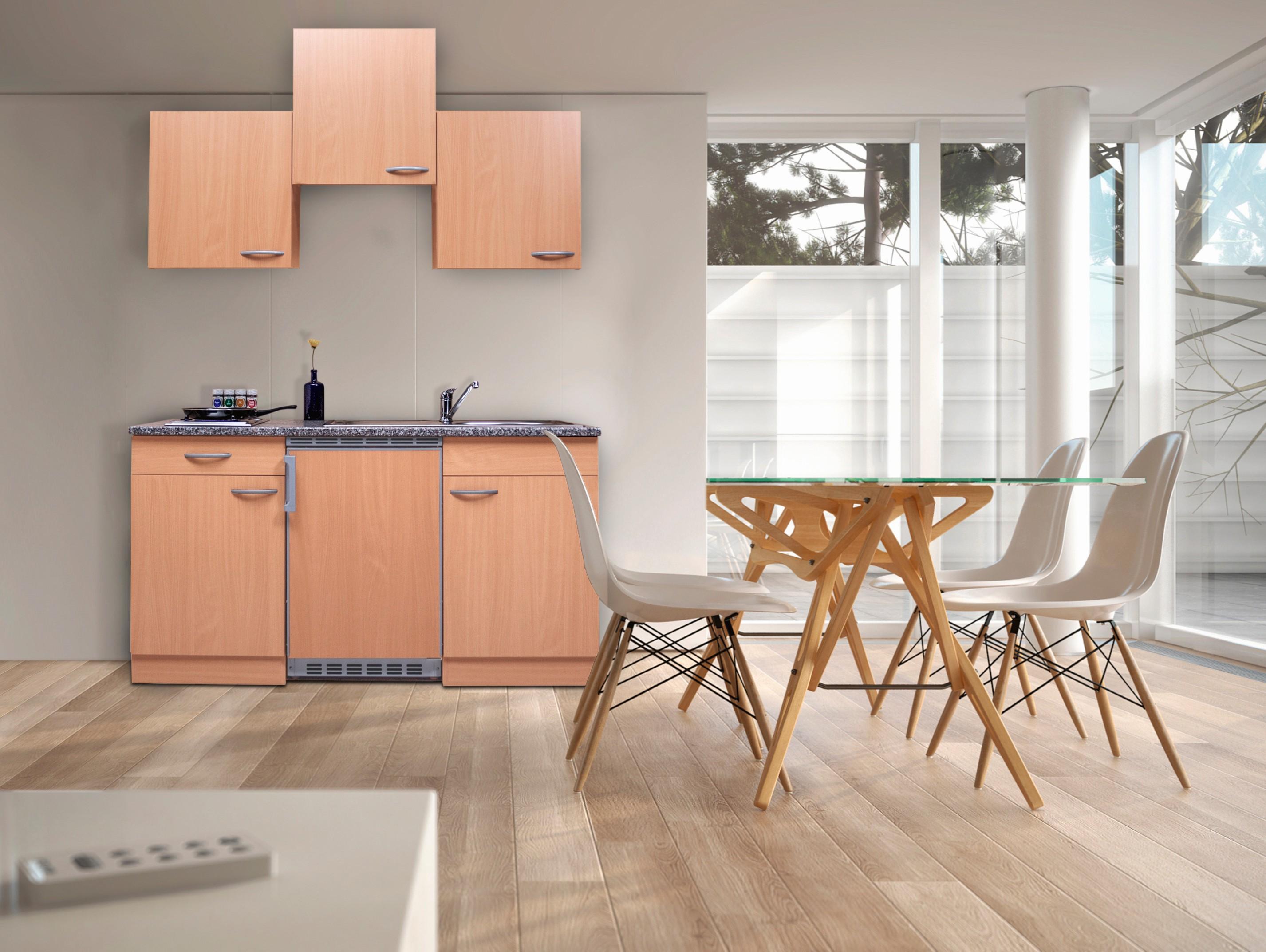 respekta Küche Miniküche Singleküche Küchenzeile Einbau Küchenblock 150 cm Buche