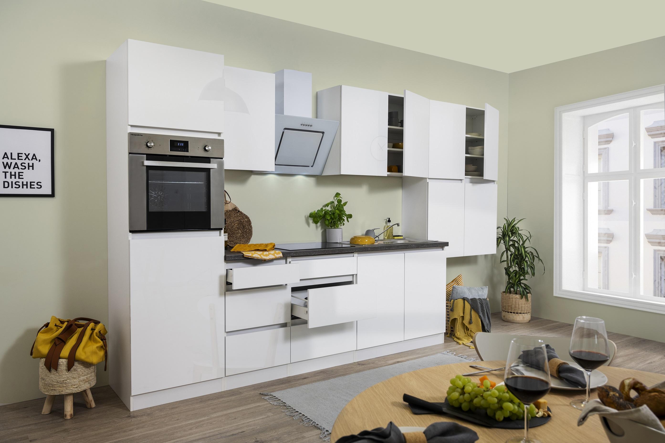 respekta Küche Küchenzeile grifflos Leerblock Einbauküche 370cm weiß Hochglanz