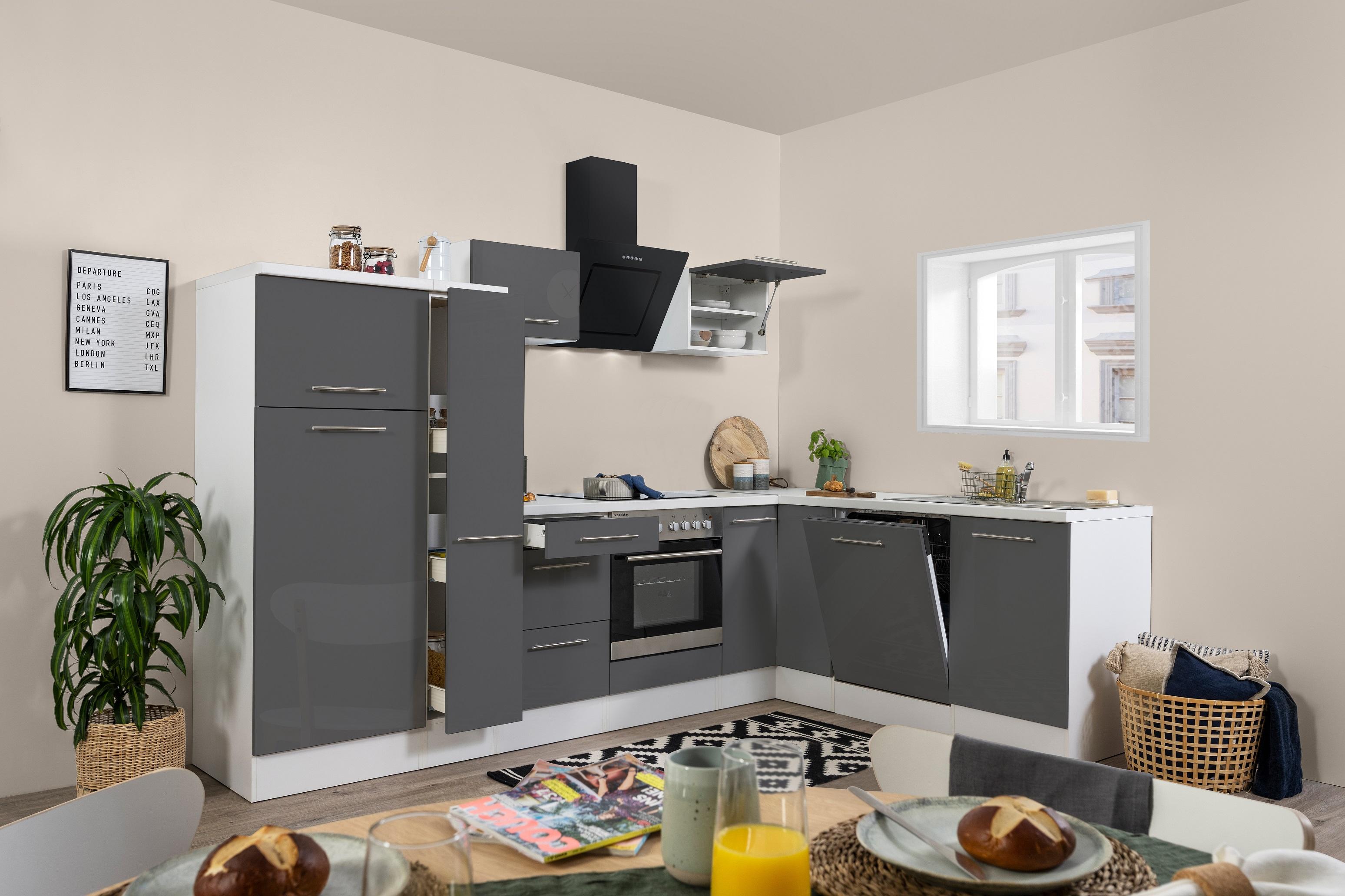 Winkelküche Küchenzeile L-Form Küche Einbauküche weiß grau 290x200 cm respekta