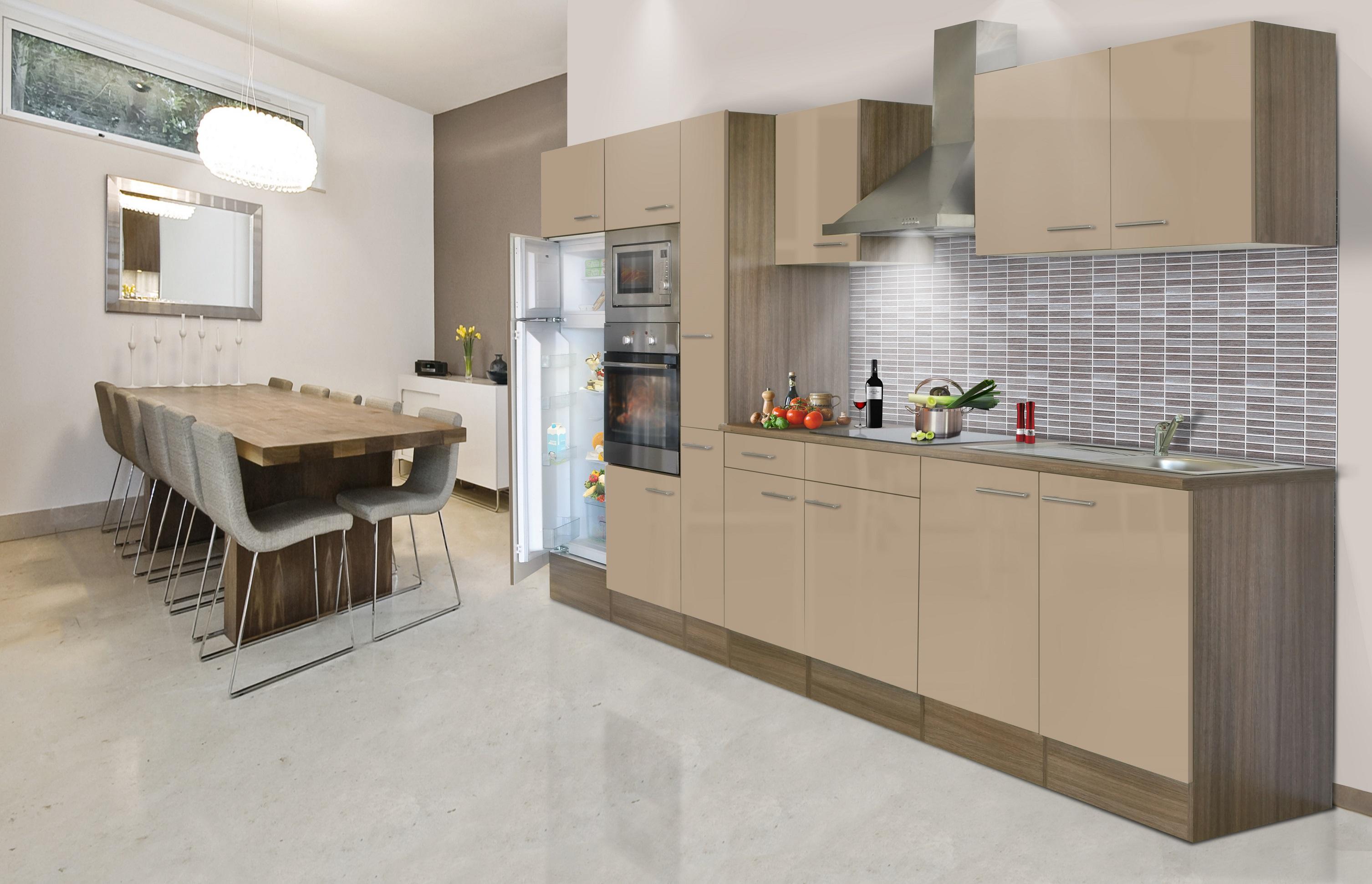 respekta Küche Küchenzeile Küchenblock Leerblock 360 cm Eiche York cappuccino
