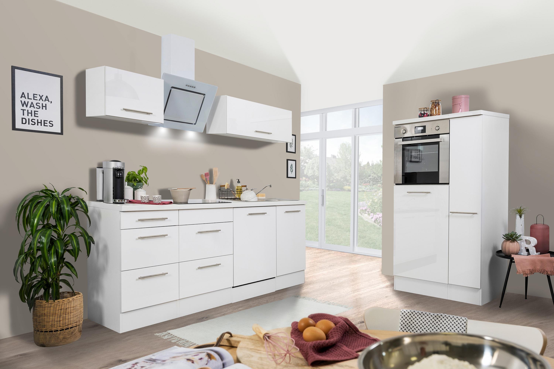 respekta Küchenzeile Küche Küchenblock Einbauküche Komplett 310cm Hochglanz weiß