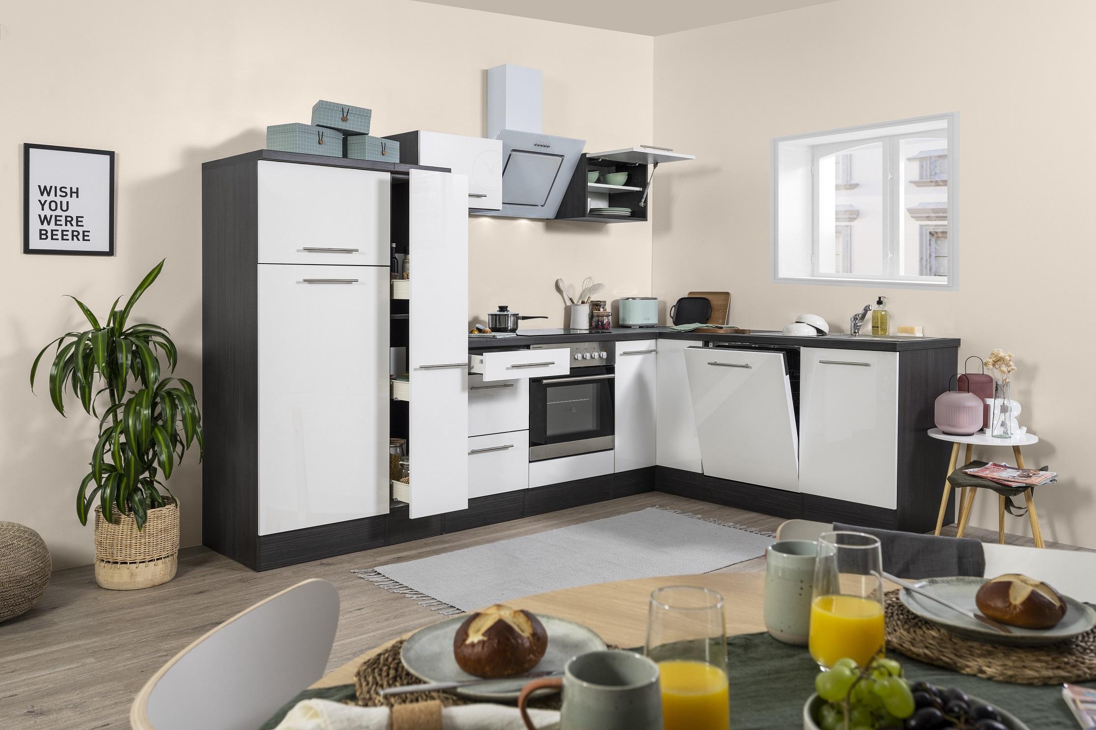 Winkelküche Küchenzeile L-Form Küche Einbauküche Eiche weiß 290x200 cm respekta