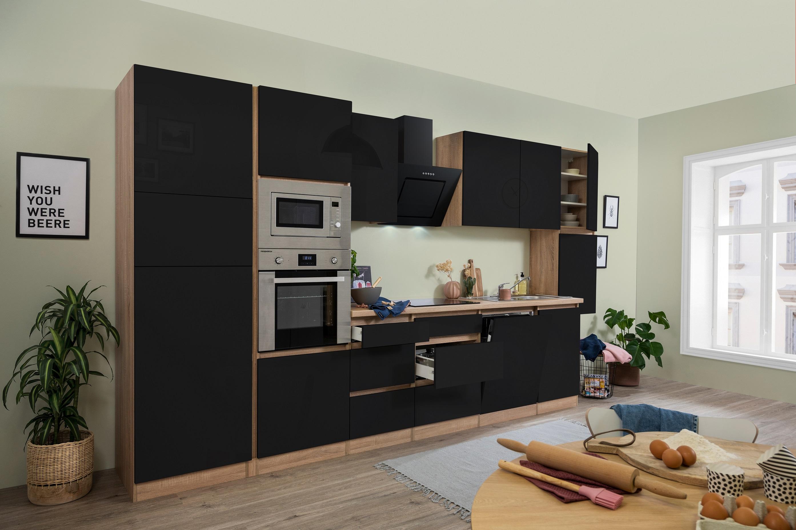 respekta Küchenzeile Küchenblock grifflose Küche 395 cm Eiche Sonoma schwarz