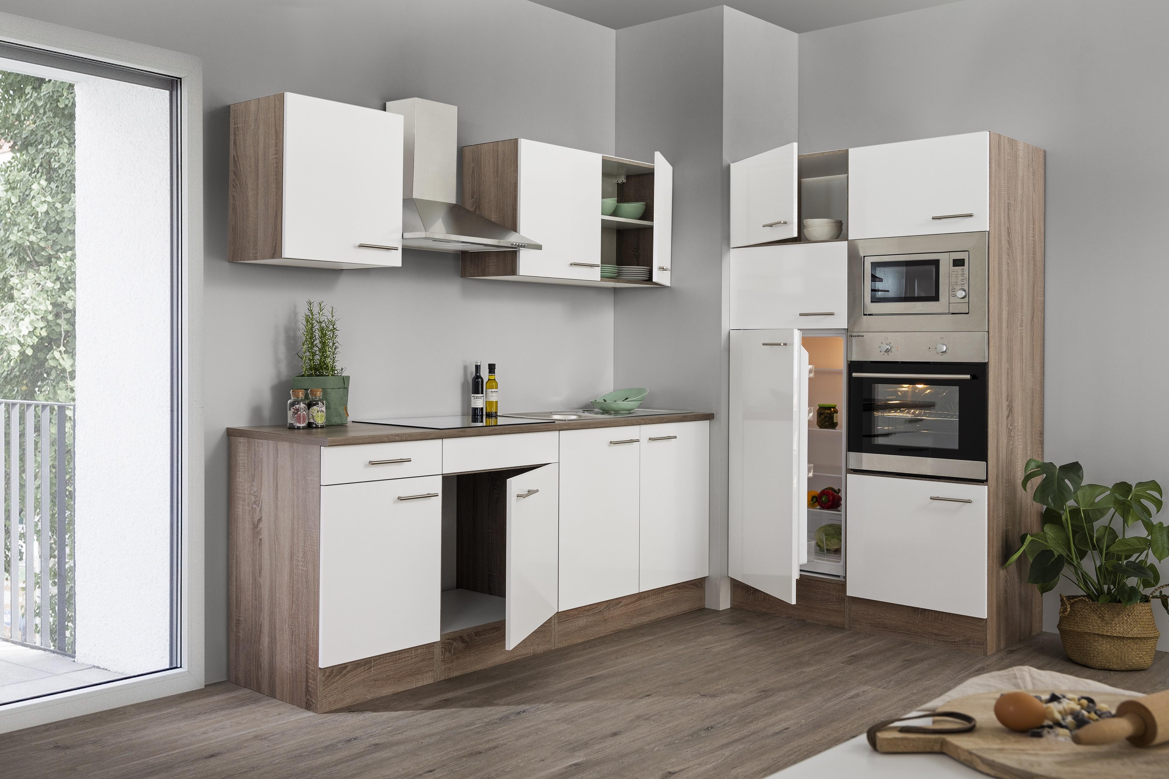 respekta Küche Küchenzeile Küchenblock Leerblock 330 cm Eiche York weiss Glanz
